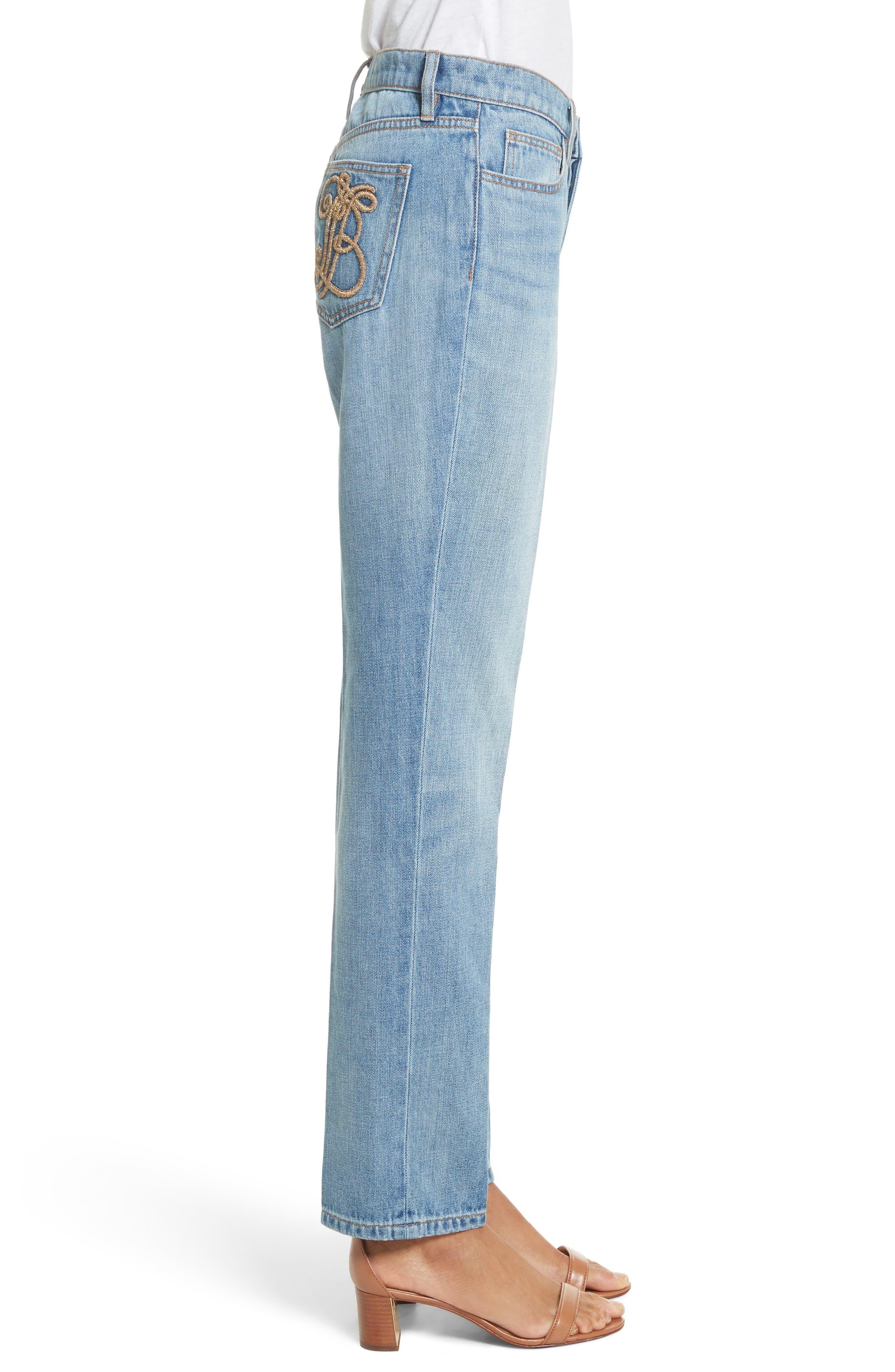 Alternate Image 3  - Tory Burch Betsy Straight Leg Jeans (Dusk Blue)