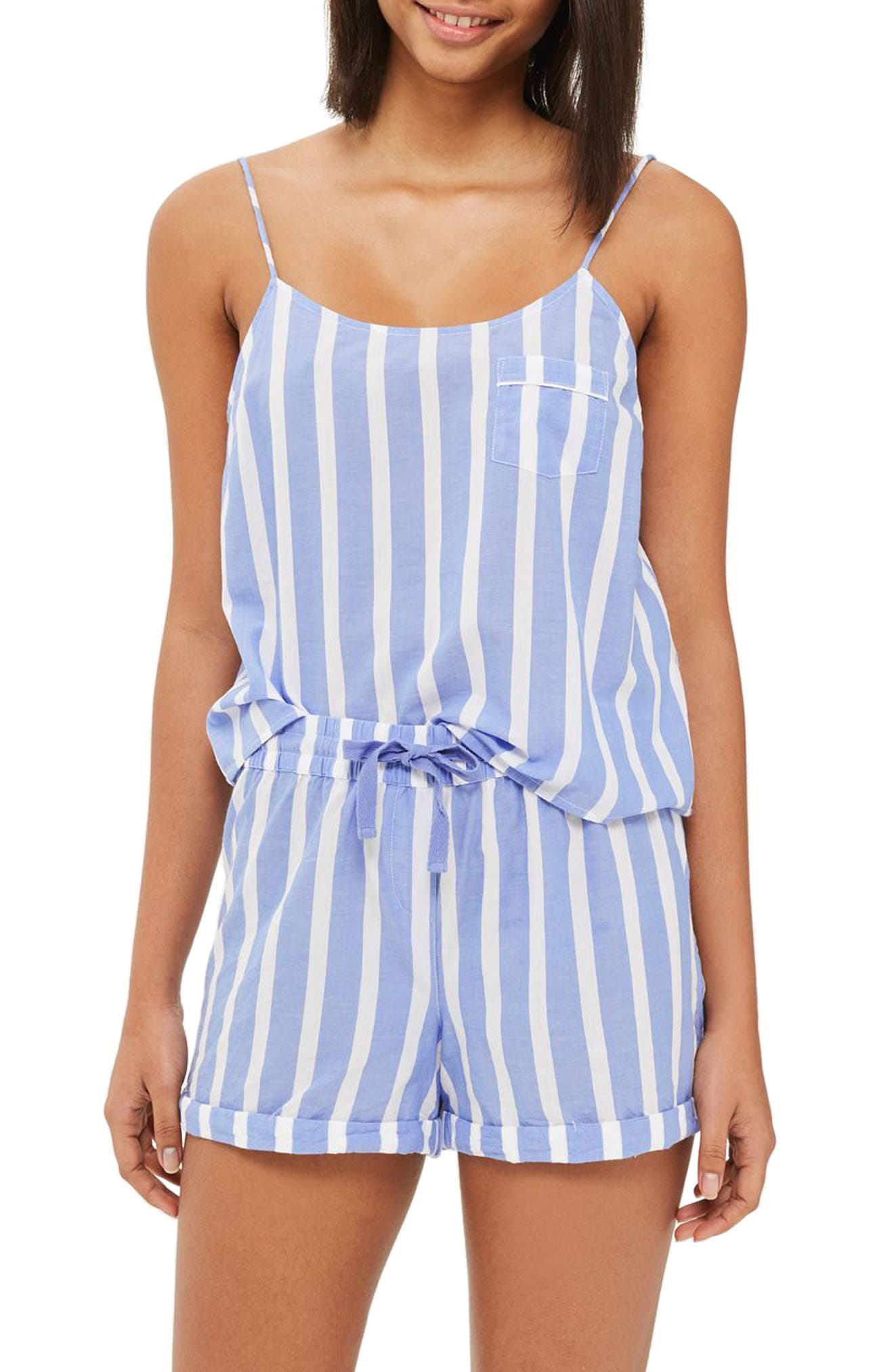 Stripe Pajama Camisole,                             Main thumbnail 1, color,                             Blue Multi