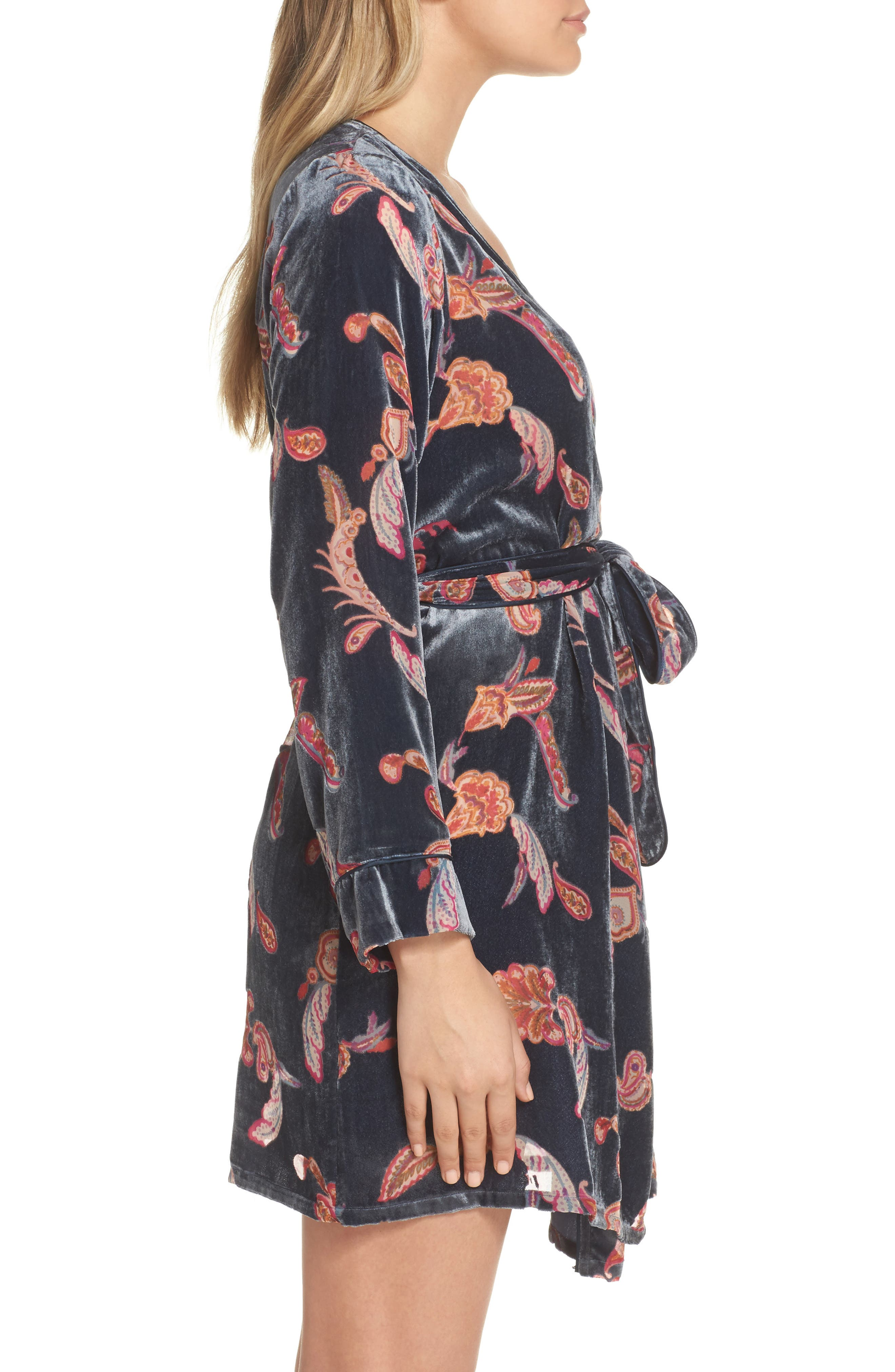 Velvet Short Robe,                             Alternate thumbnail 3, color,                             Navy Midnight Paisley