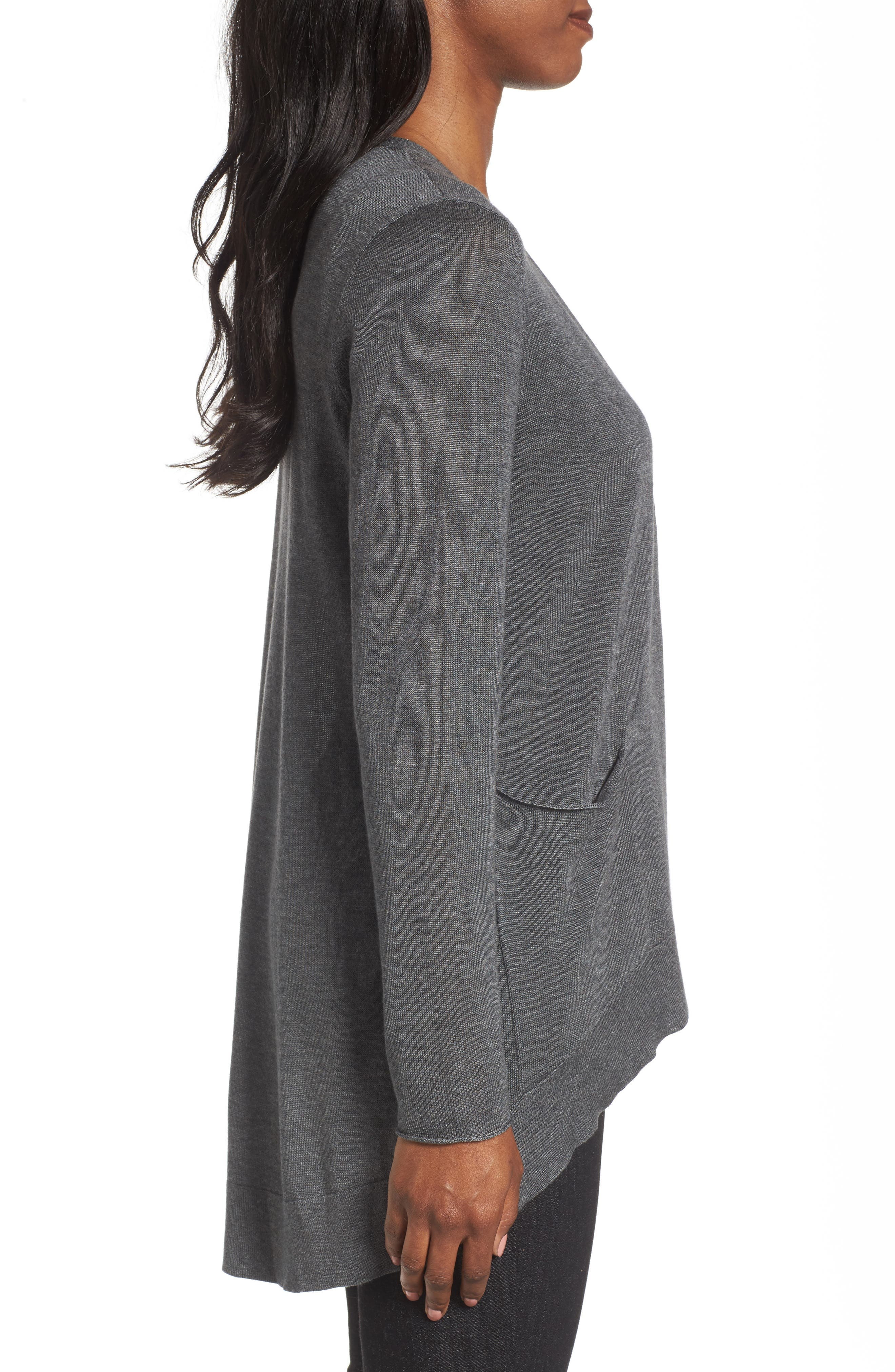 Slouchy Tencel<sup>®</sup> Blend Cardigan,                             Alternate thumbnail 3, color,                             Ash