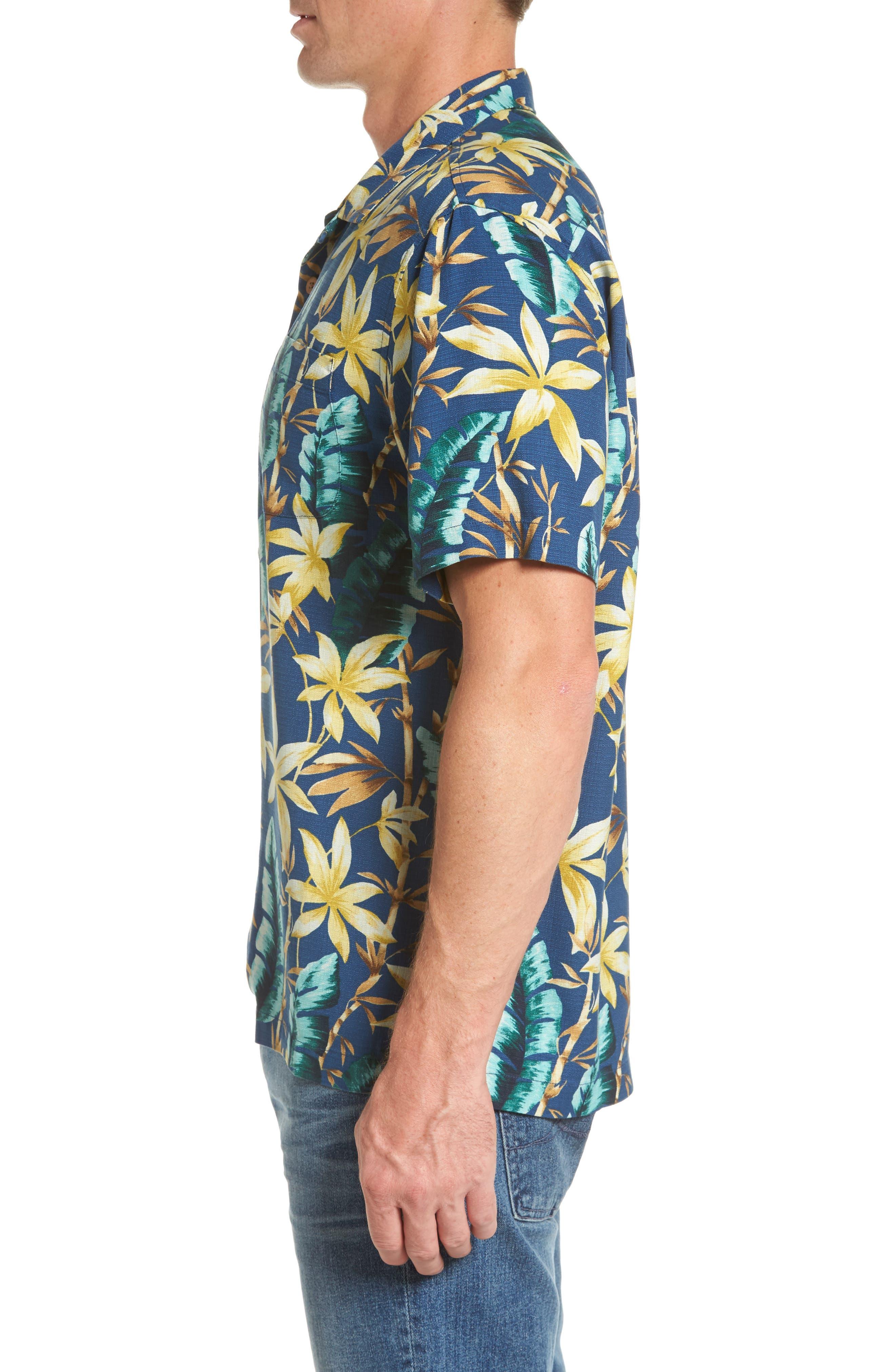 Standard Fit Jungle Punch Silk Camp Shirt,                             Alternate thumbnail 3, color,                             Bering Blue