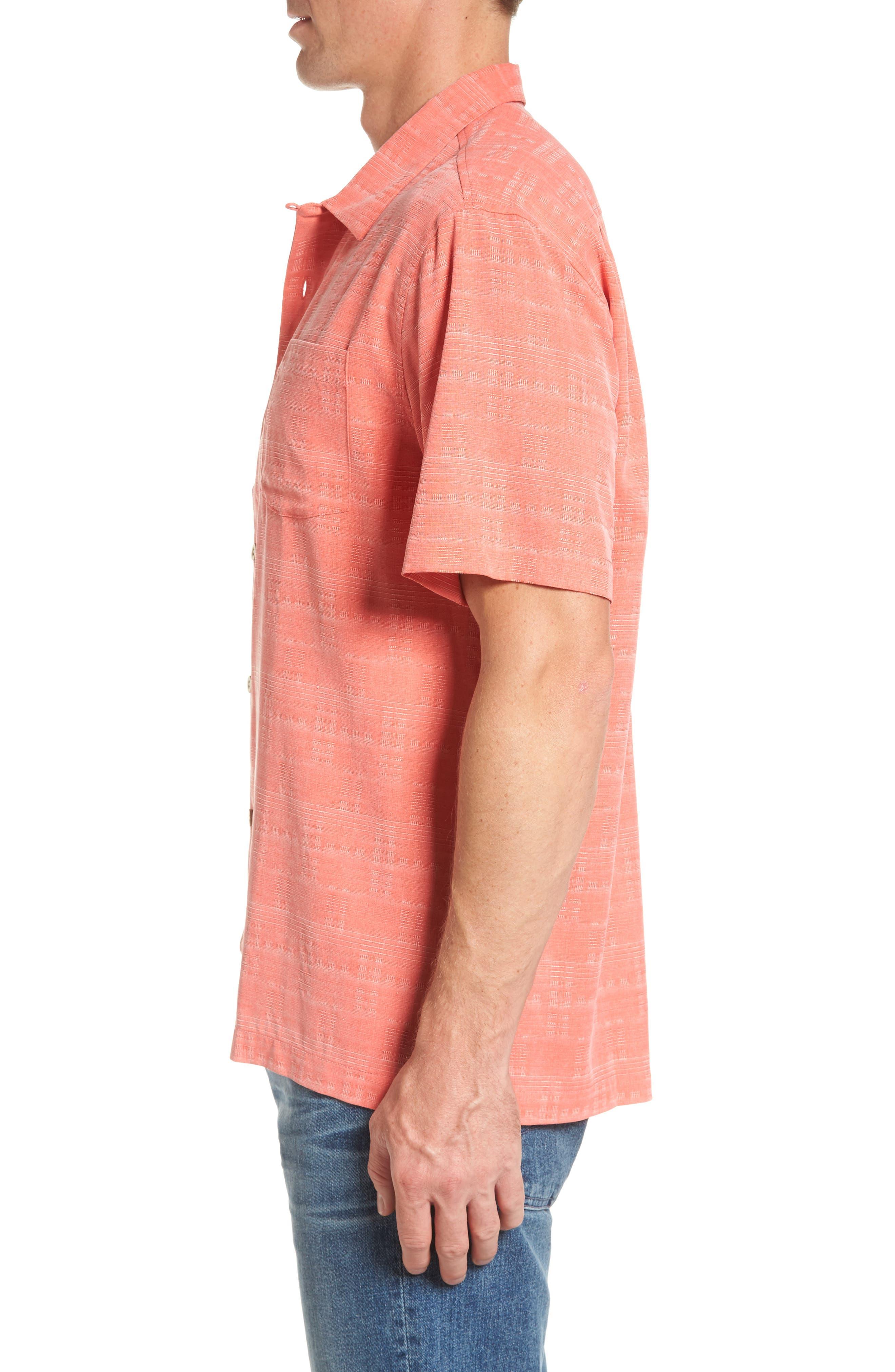 'Geo-Rific Jacquard' Original Fit Silk Camp Shirt,                             Alternate thumbnail 3, color,                             Fusion