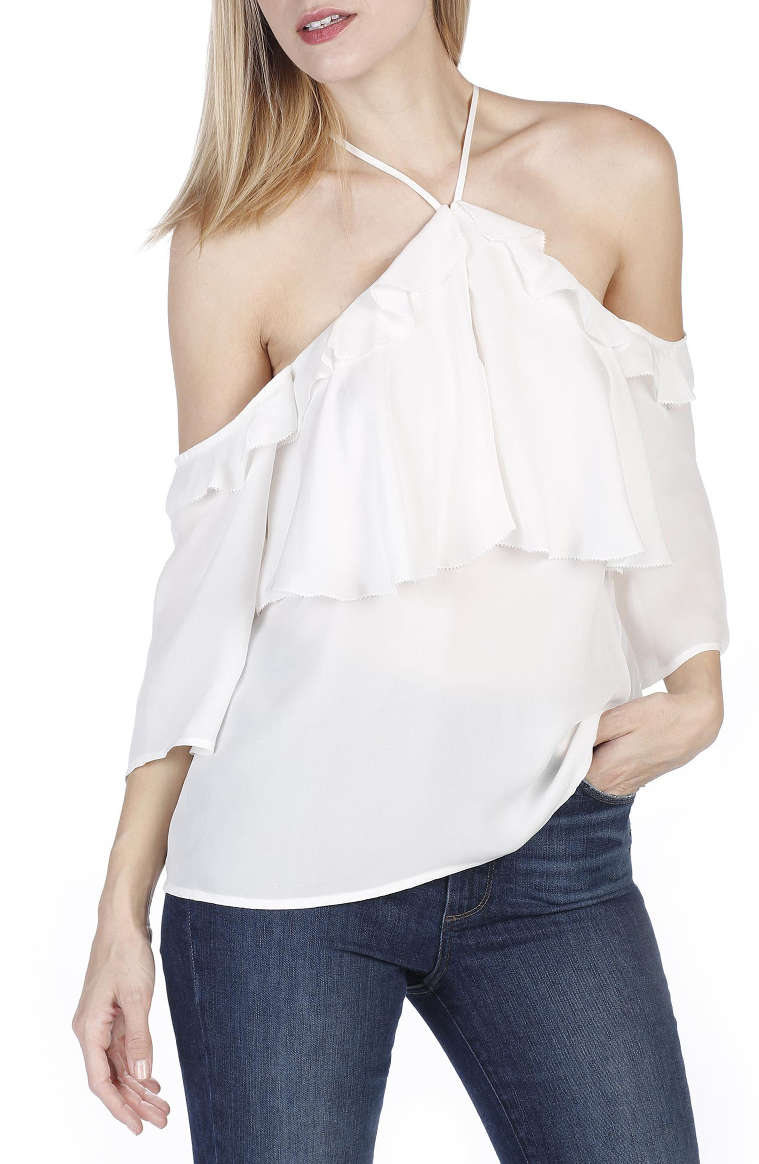 Luciana Off the Shoulder Silk Top,                         Main,                         color, White