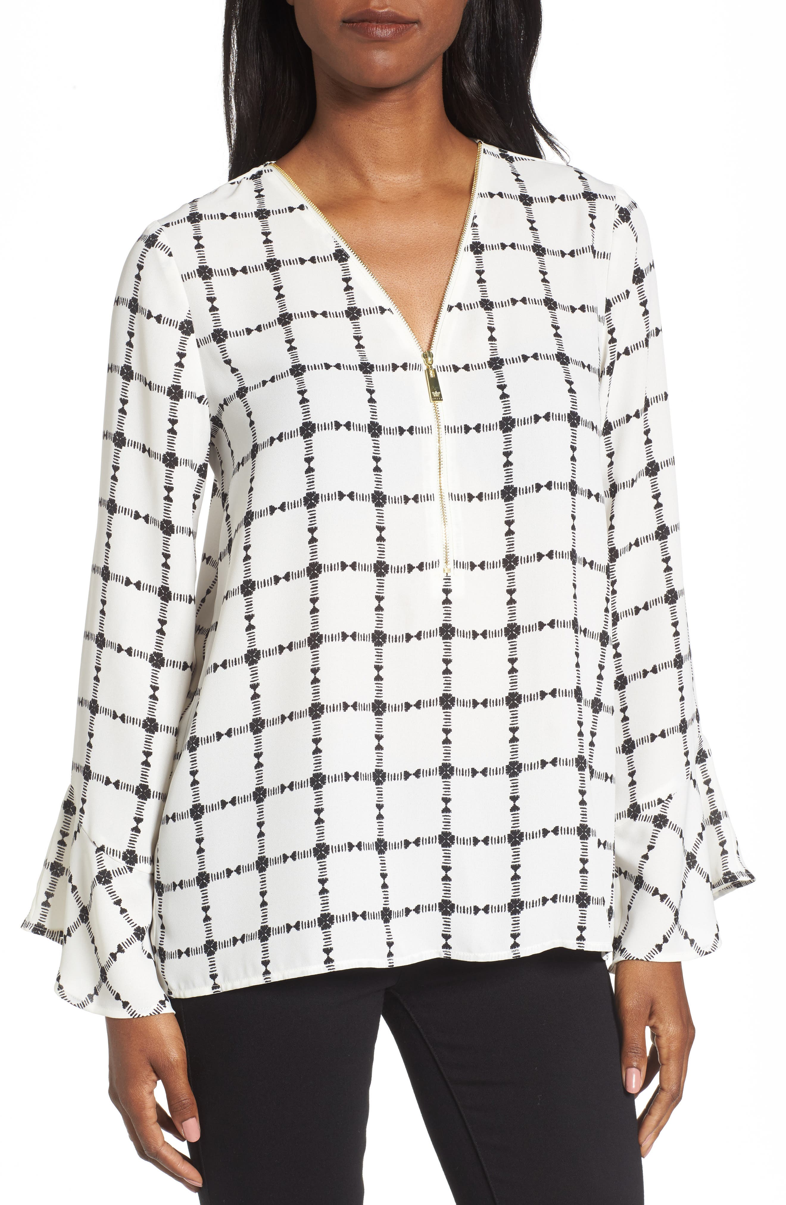 Alternate Image 1 Selected - Chaus Terrace Plaid Zip Front Blouse