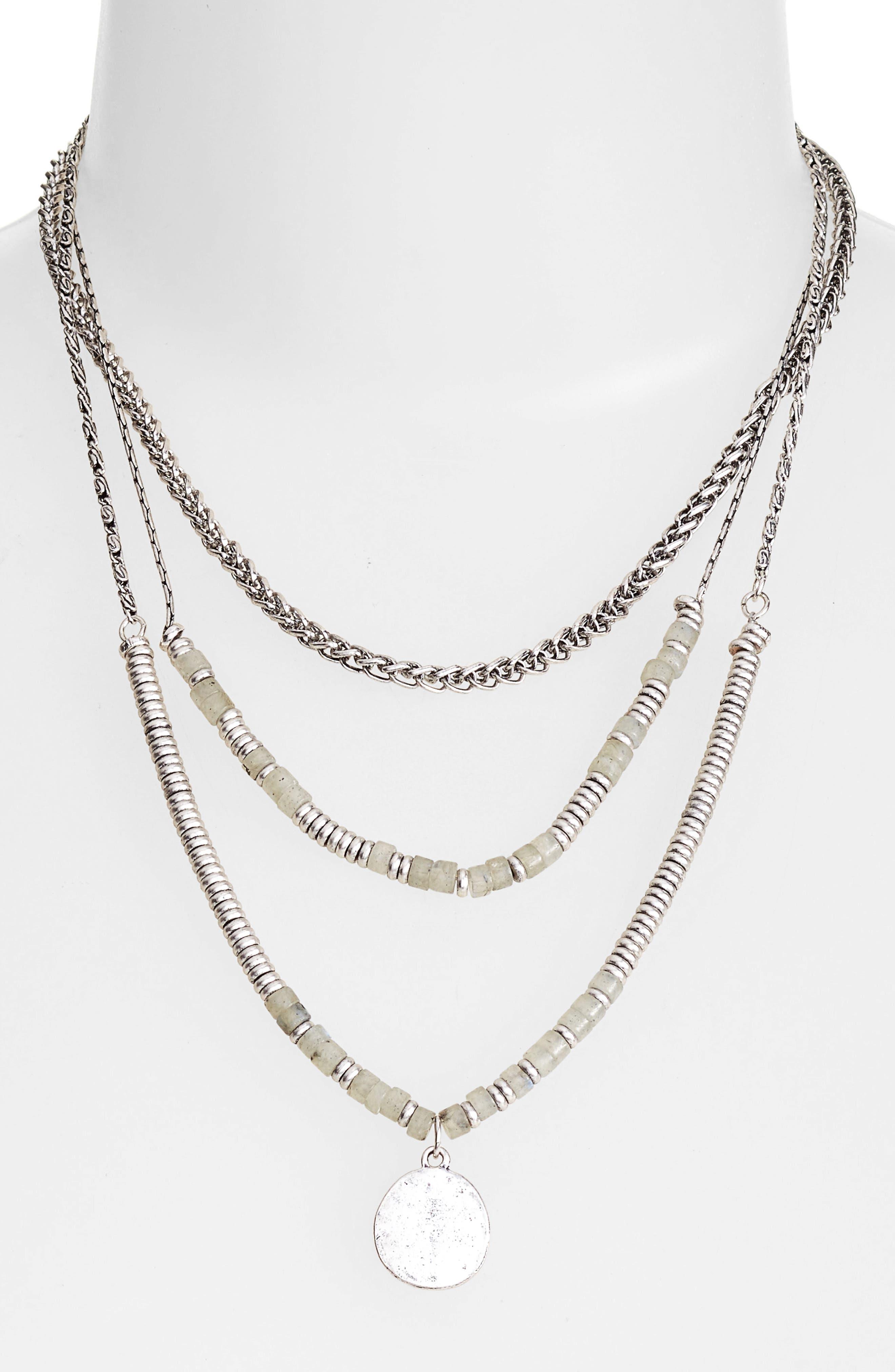 Beaded Frontal Necklace,                             Main thumbnail 1, color,                             Labradorite- Rhodium