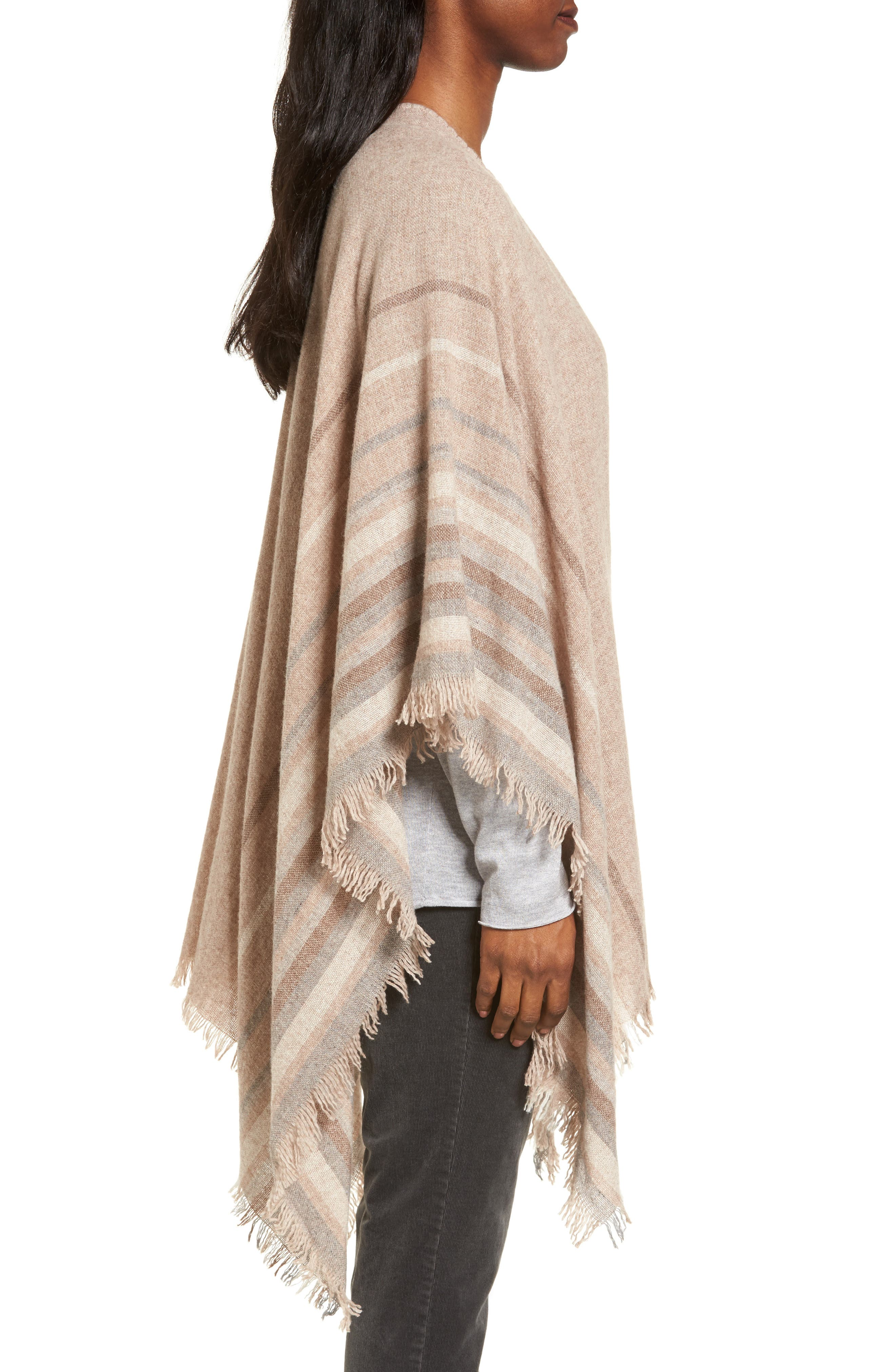 Alternate Image 3  - Eileen Fisher Stripe Wool Blend Poncho Wrap