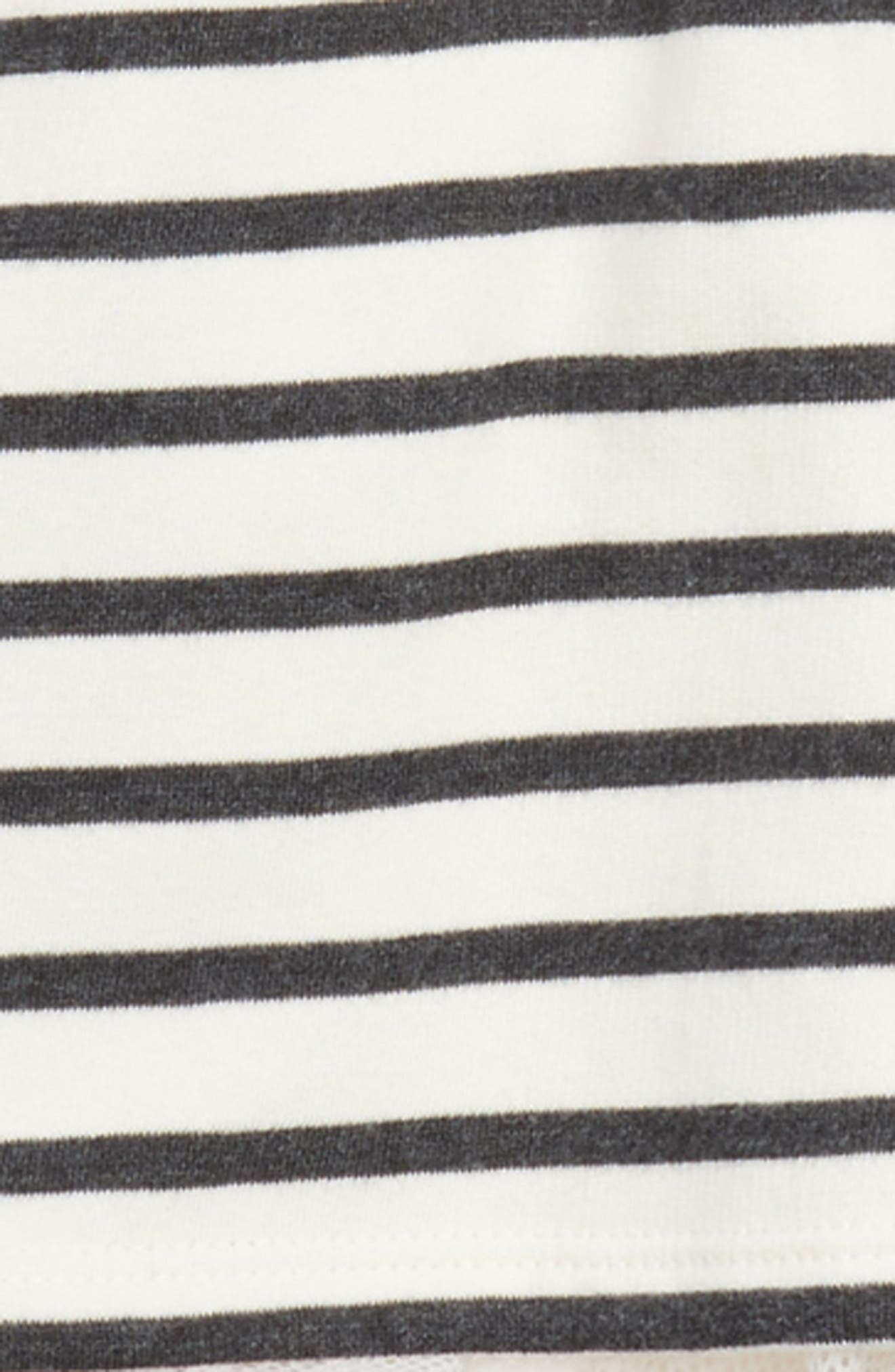 Stripe Crop Hooded Sweatshirt with Back Ruffle,                             Alternate thumbnail 2, color,                             White/ Black