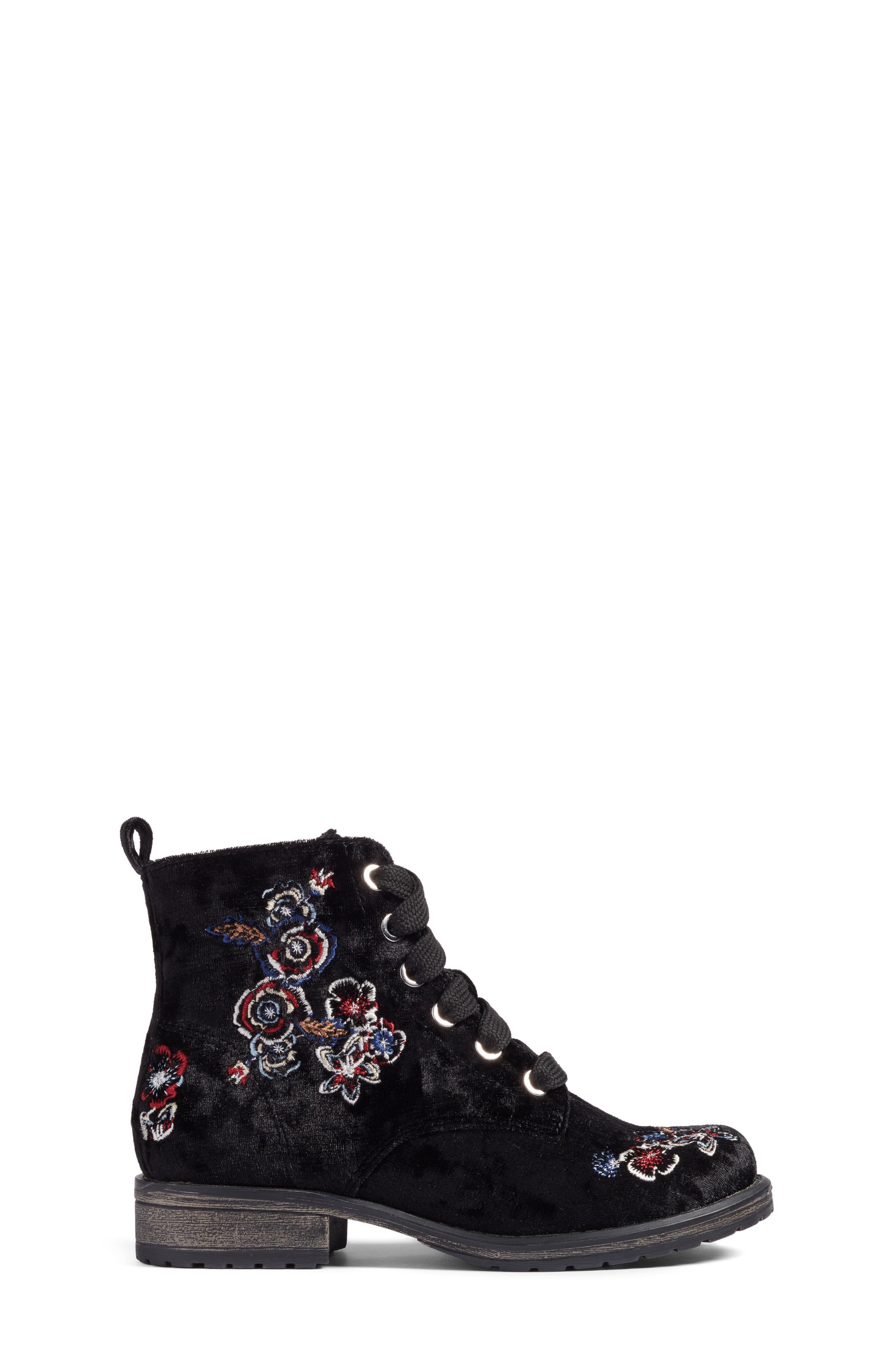 Lilla Combat Boot,                             Alternate thumbnail 3, color,                             Black Multi Velvet