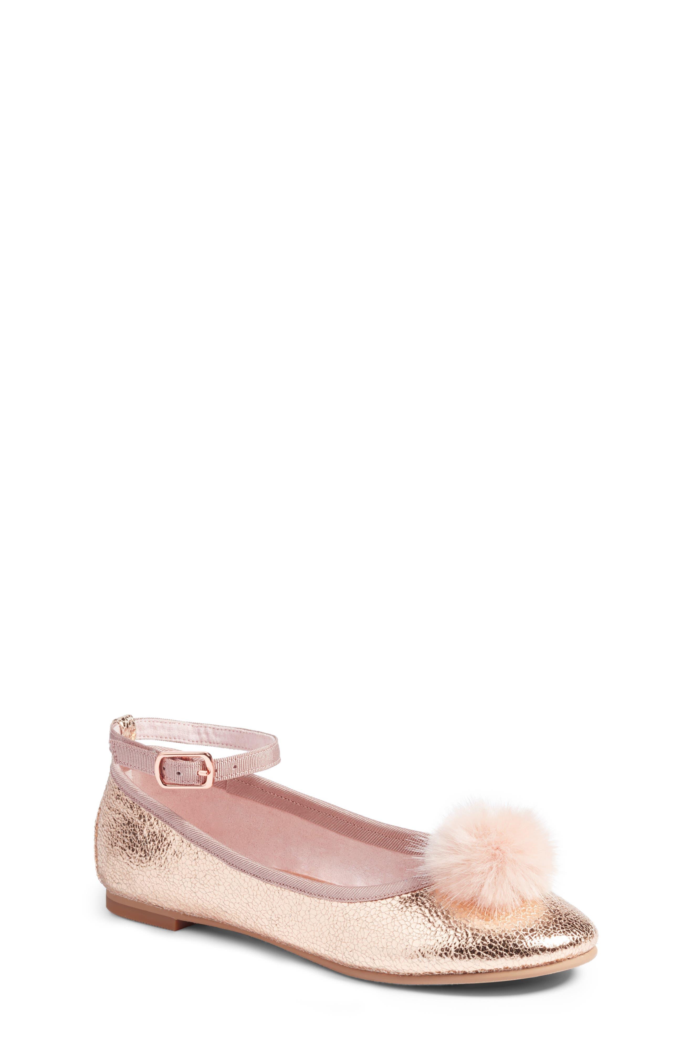 Kilie Faux Fur Pom Flat,                         Main,                         color, Rose Gold Faux Leather