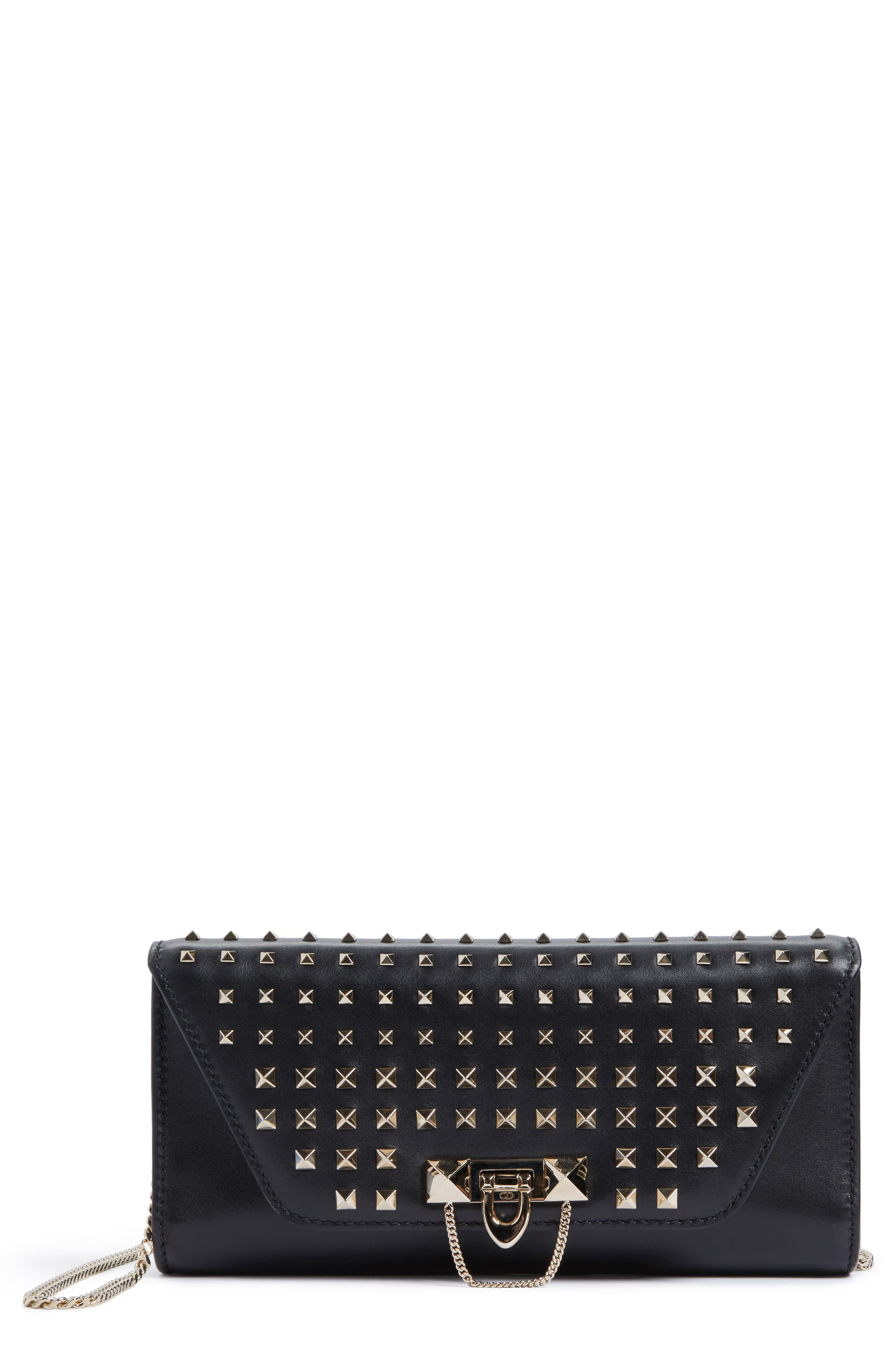 Alternate Image 1 Selected - VALENTINO GARAVANI Demilune Studded Calfskin Clutch