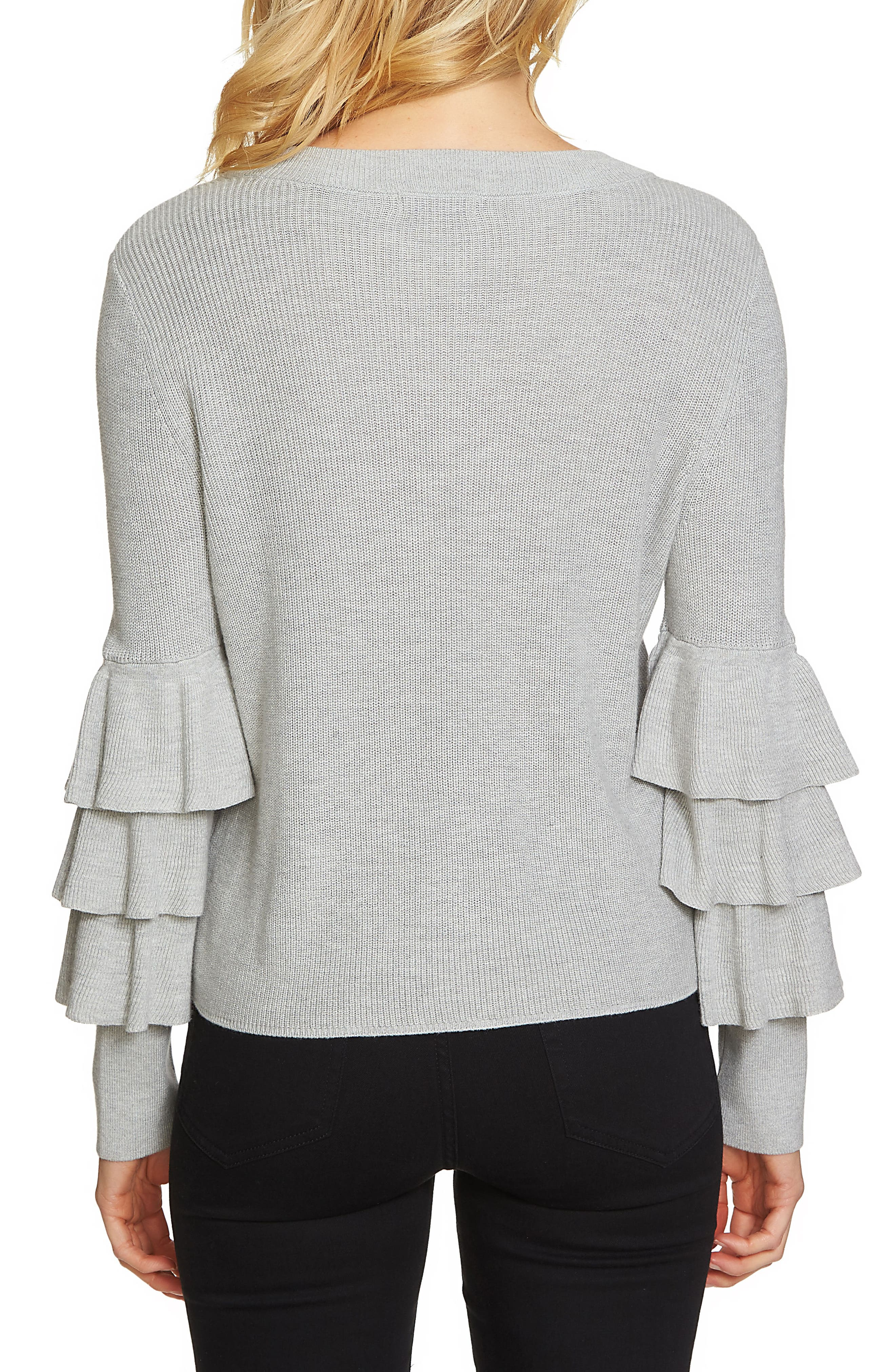 Tiered Ruffle Sleeve Sweater,                             Alternate thumbnail 2, color,                             Grey Heather