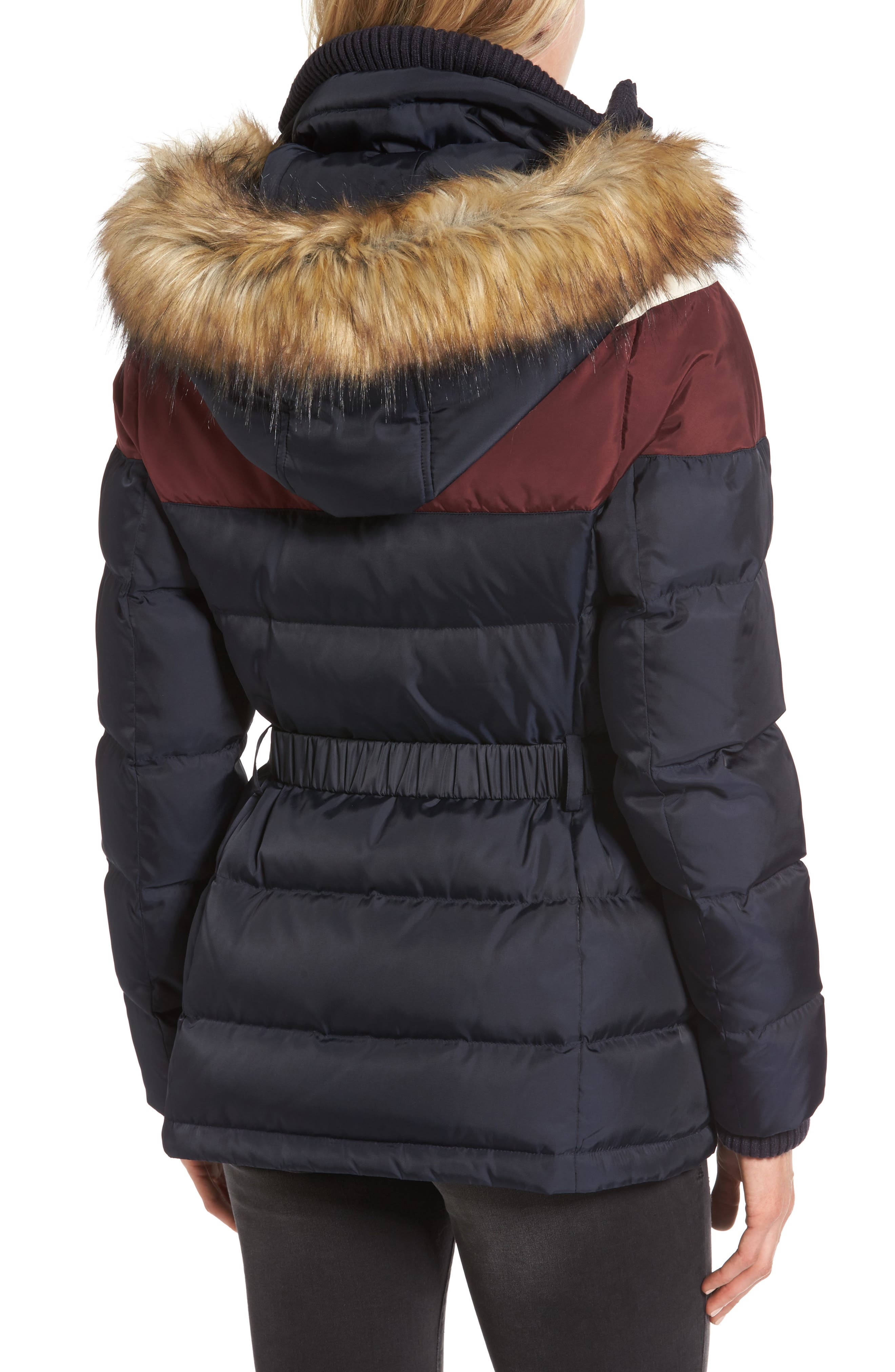 Belted Down & Feather Fill Coat with Faux Fur Trim Hood,                             Alternate thumbnail 2, color,                             Navy/Multi