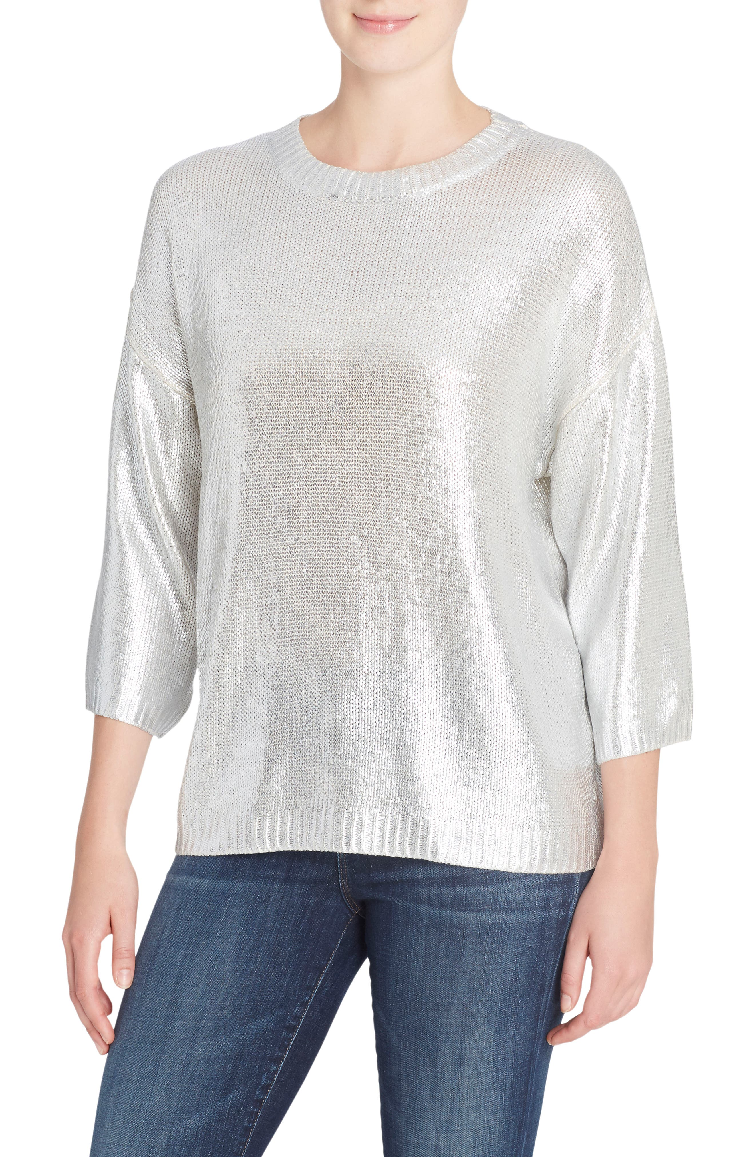 Spence Crewneck Sweater,                             Main thumbnail 1, color,                             Silver