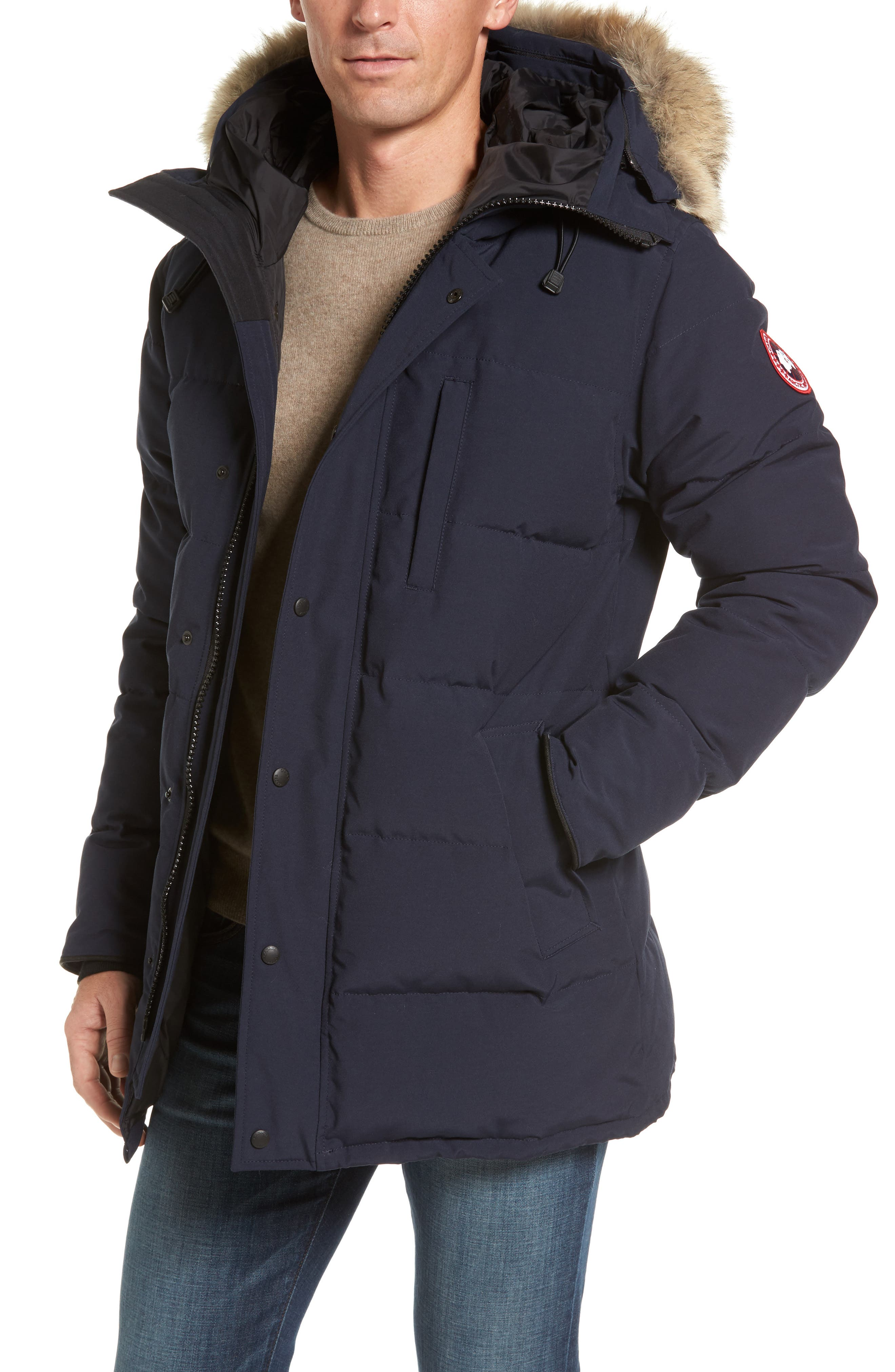 Main Image - Canada Goose 'Carson' Slim Fit Hooded Packable Parka with Genuine Coyote Fur Trim