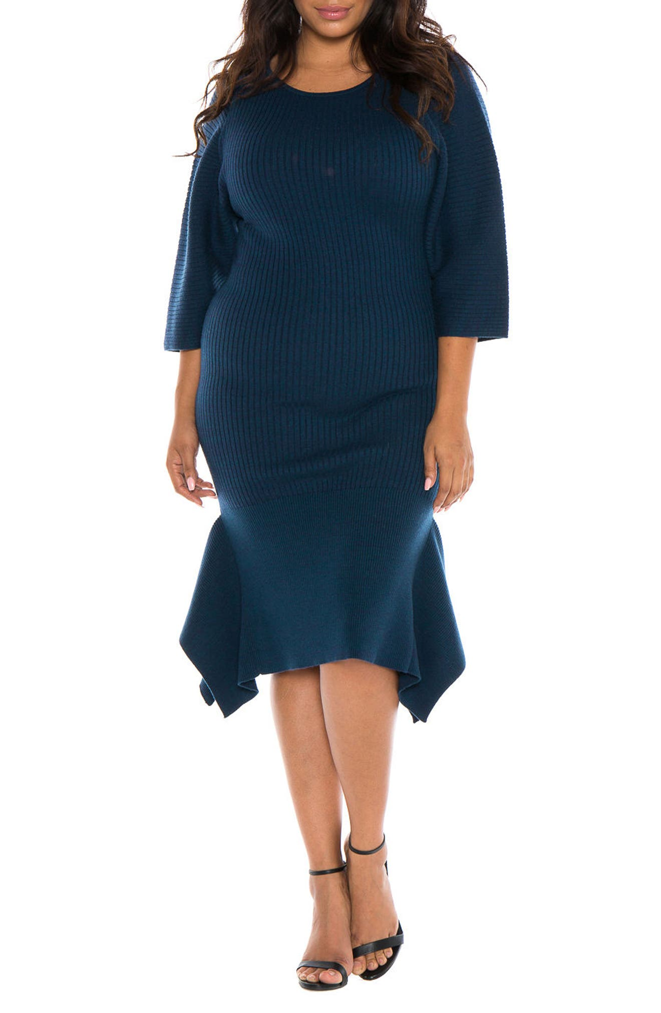 Handkerchief Hem Sweater Dress,                         Main,                         color, Deep Blue Navy
