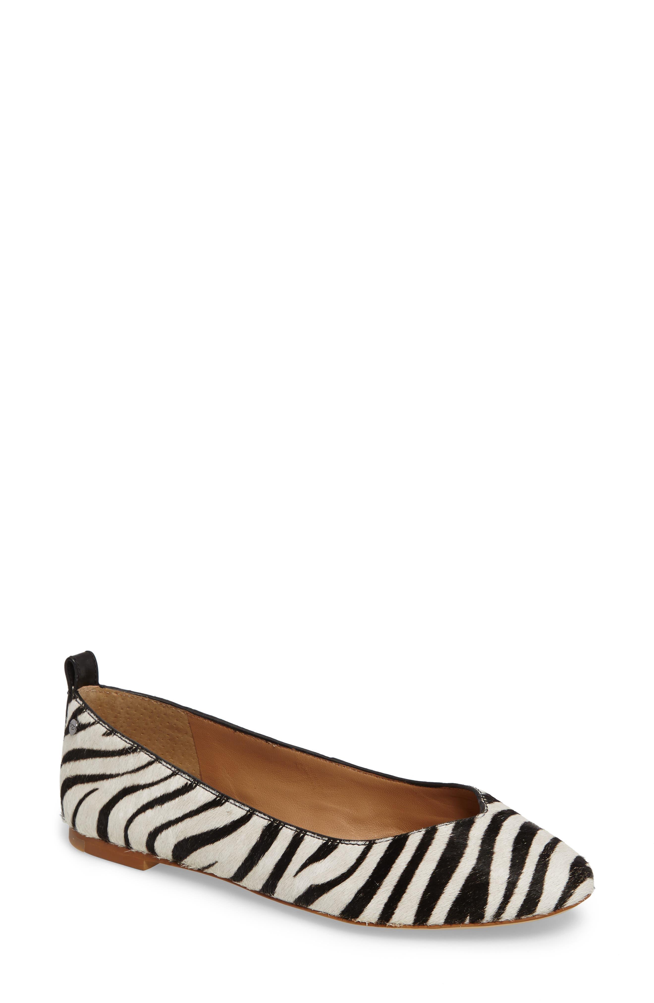 Lynley Genuine Calf Hair Flat,                             Main thumbnail 1, color,                             Zebra Calf Hair Leather
