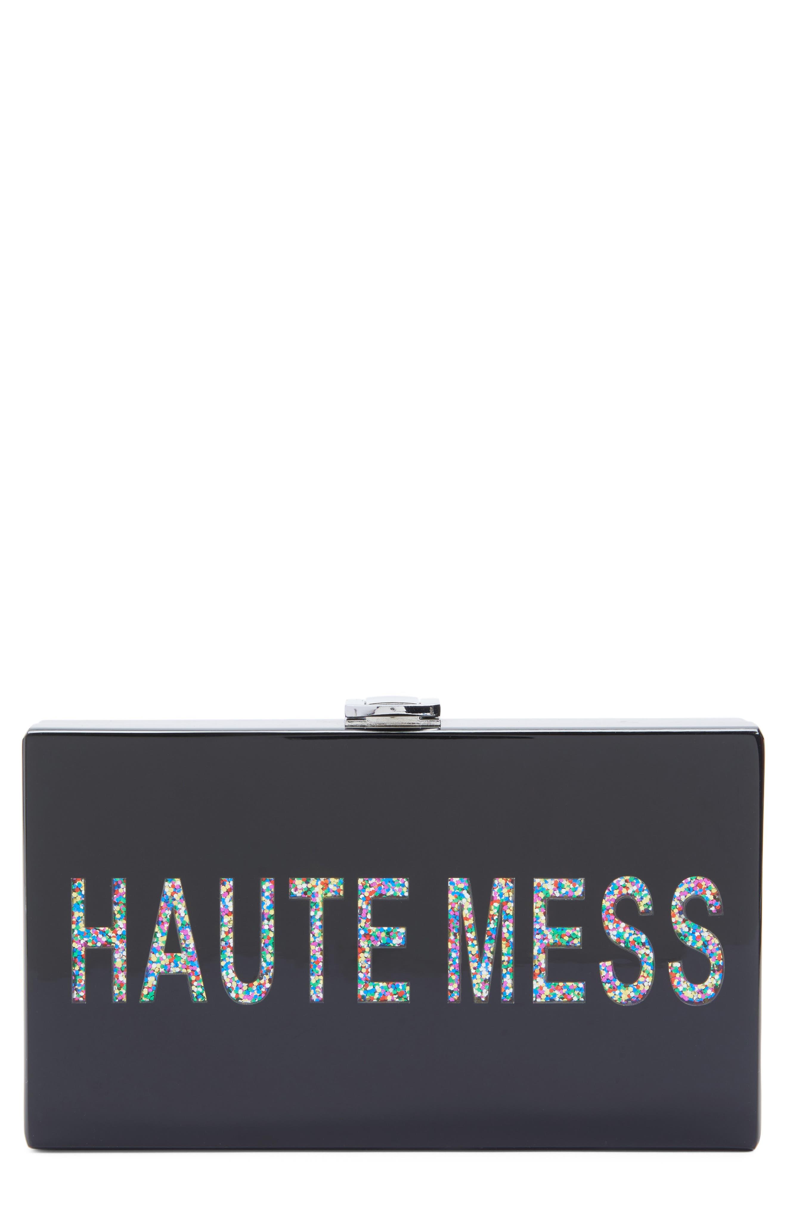 Haute Mess Box Clutch,                             Main thumbnail 1, color,                             Black