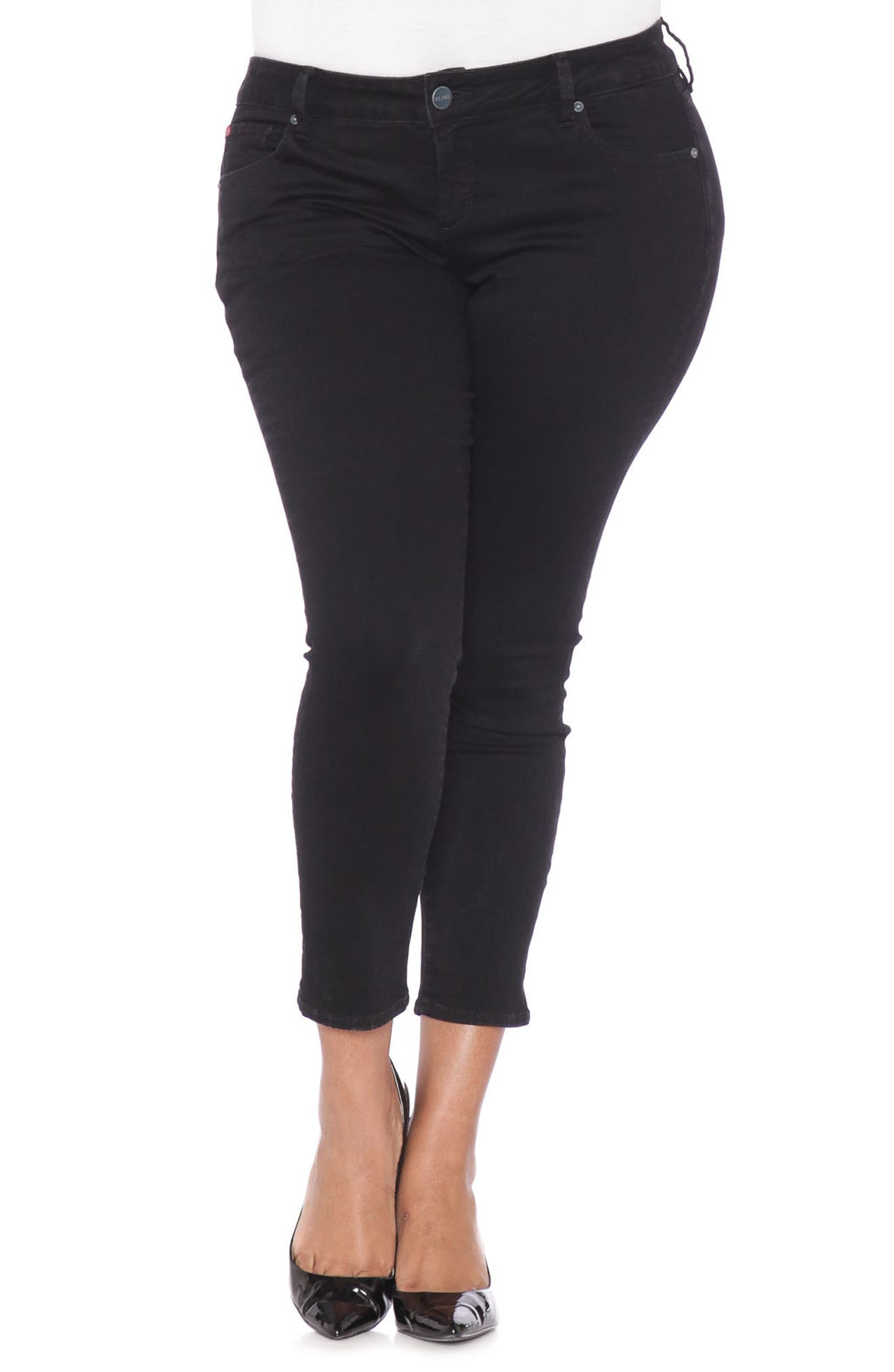 Stretch Ankle Skinny Jeans,                             Main thumbnail 1, color,                             Black