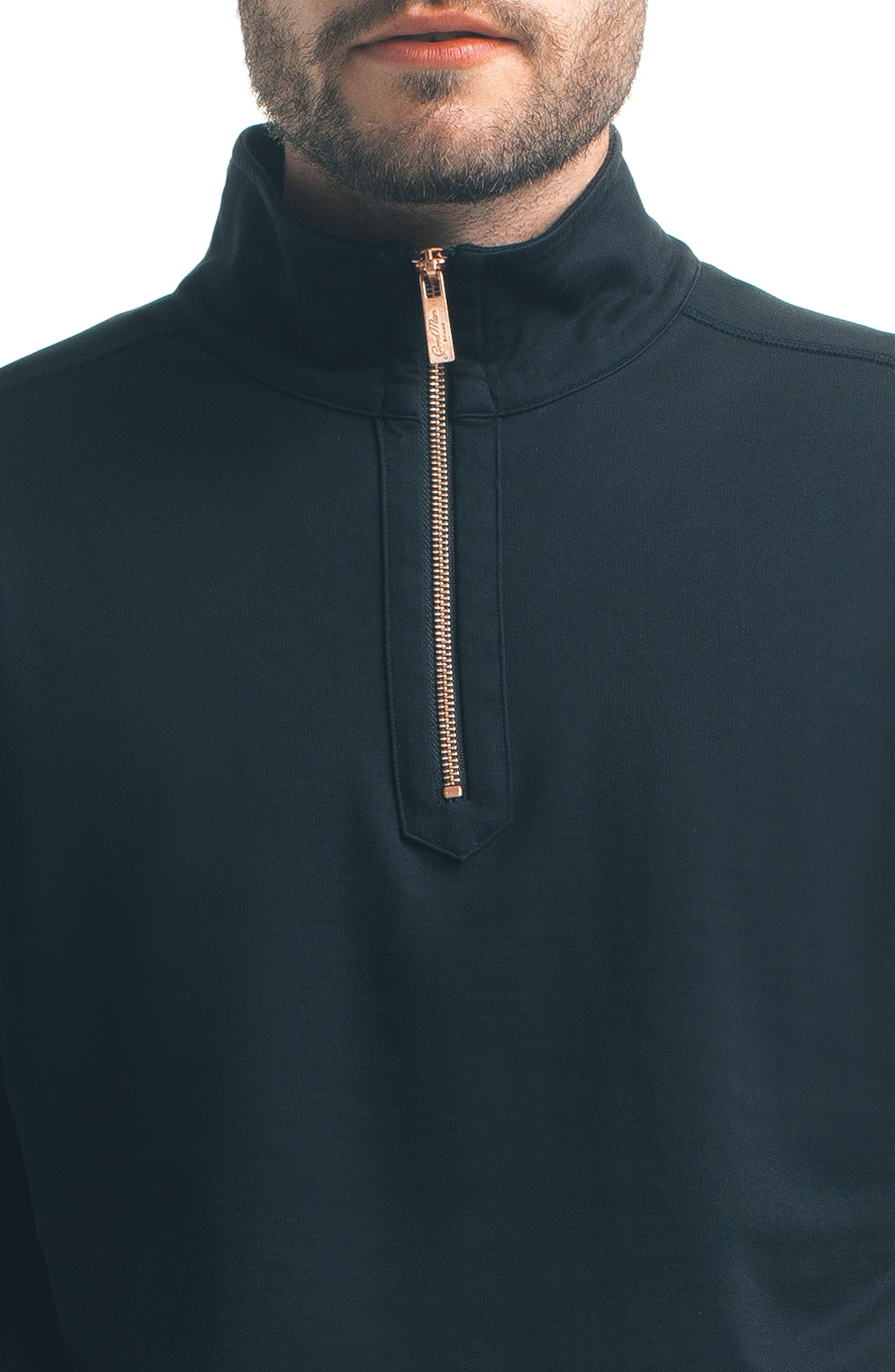 Slim Pro Quarter Zip Pullover,                             Alternate thumbnail 4, color,                             Black