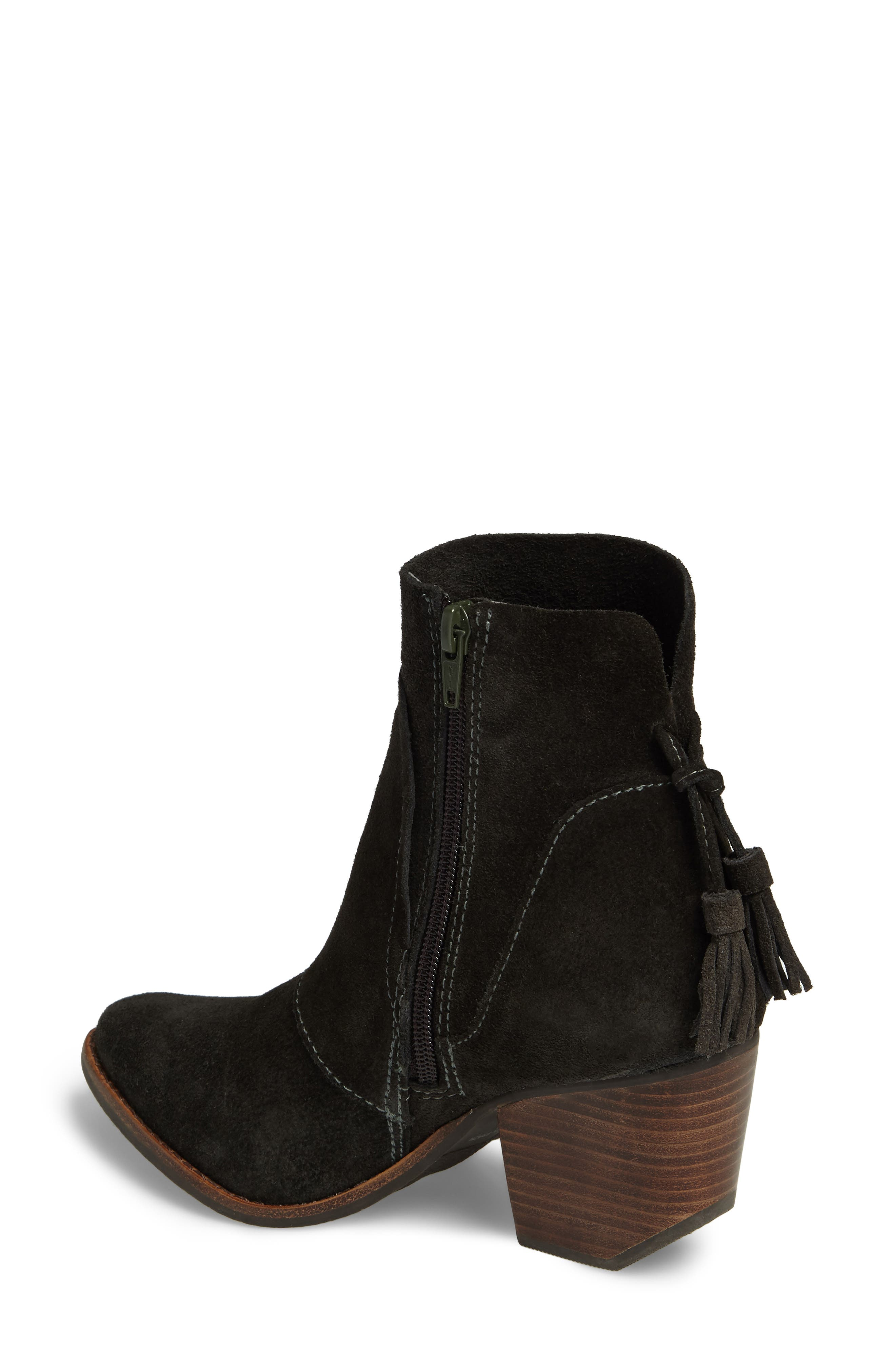 Laney Notched Heel Bootie,                             Alternate thumbnail 2, color,                             Forest Suede