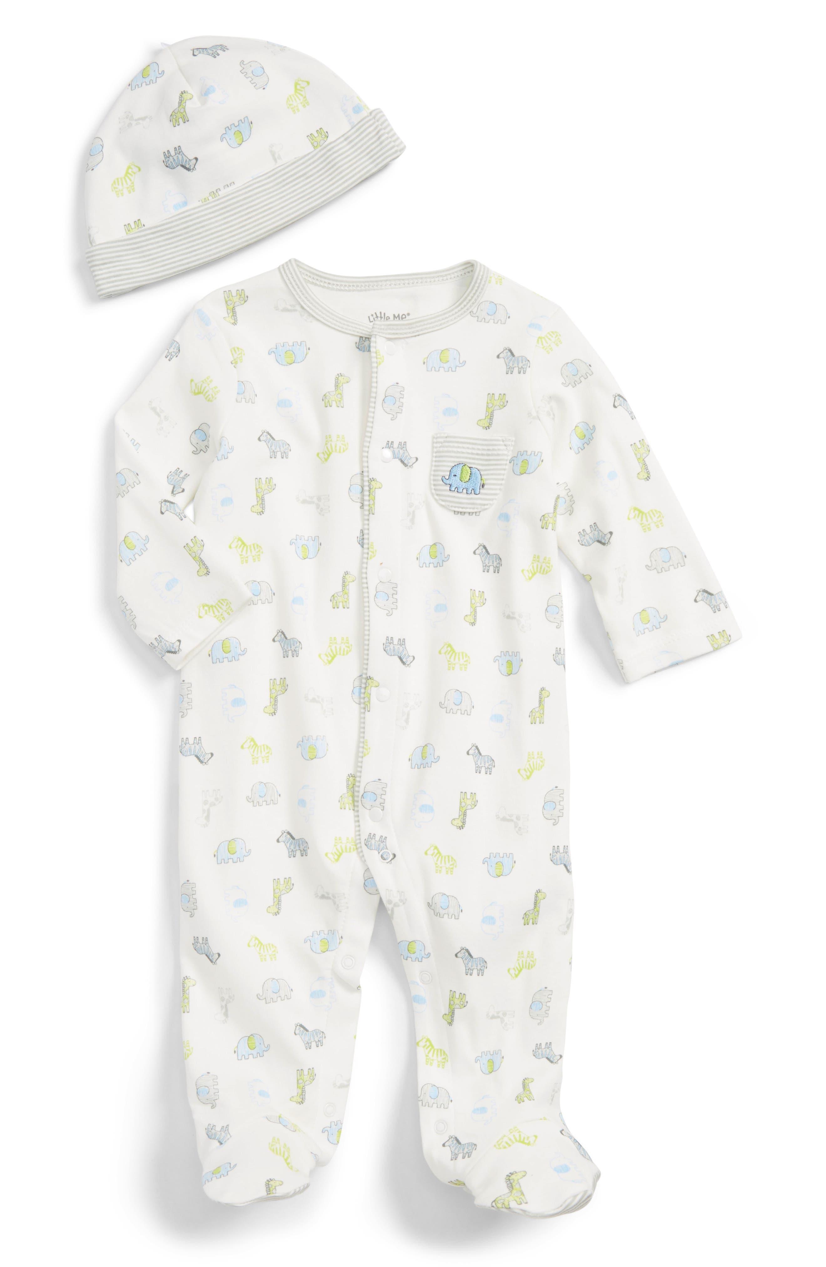 Little Me Safari Footie & Hat Set (Baby Boys)