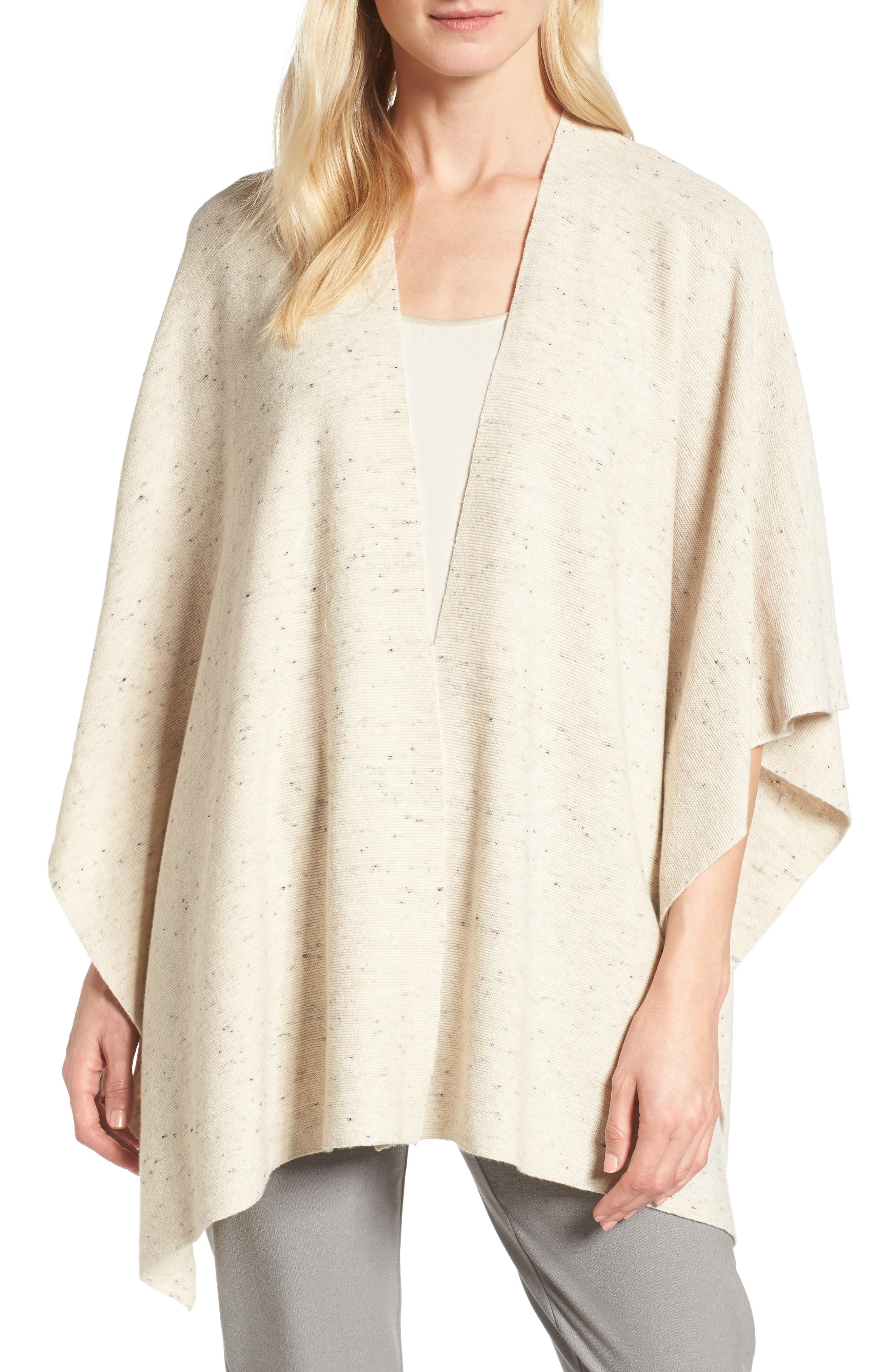 Eileen Fisher Organic Cotton Blend Poncho Cardigan