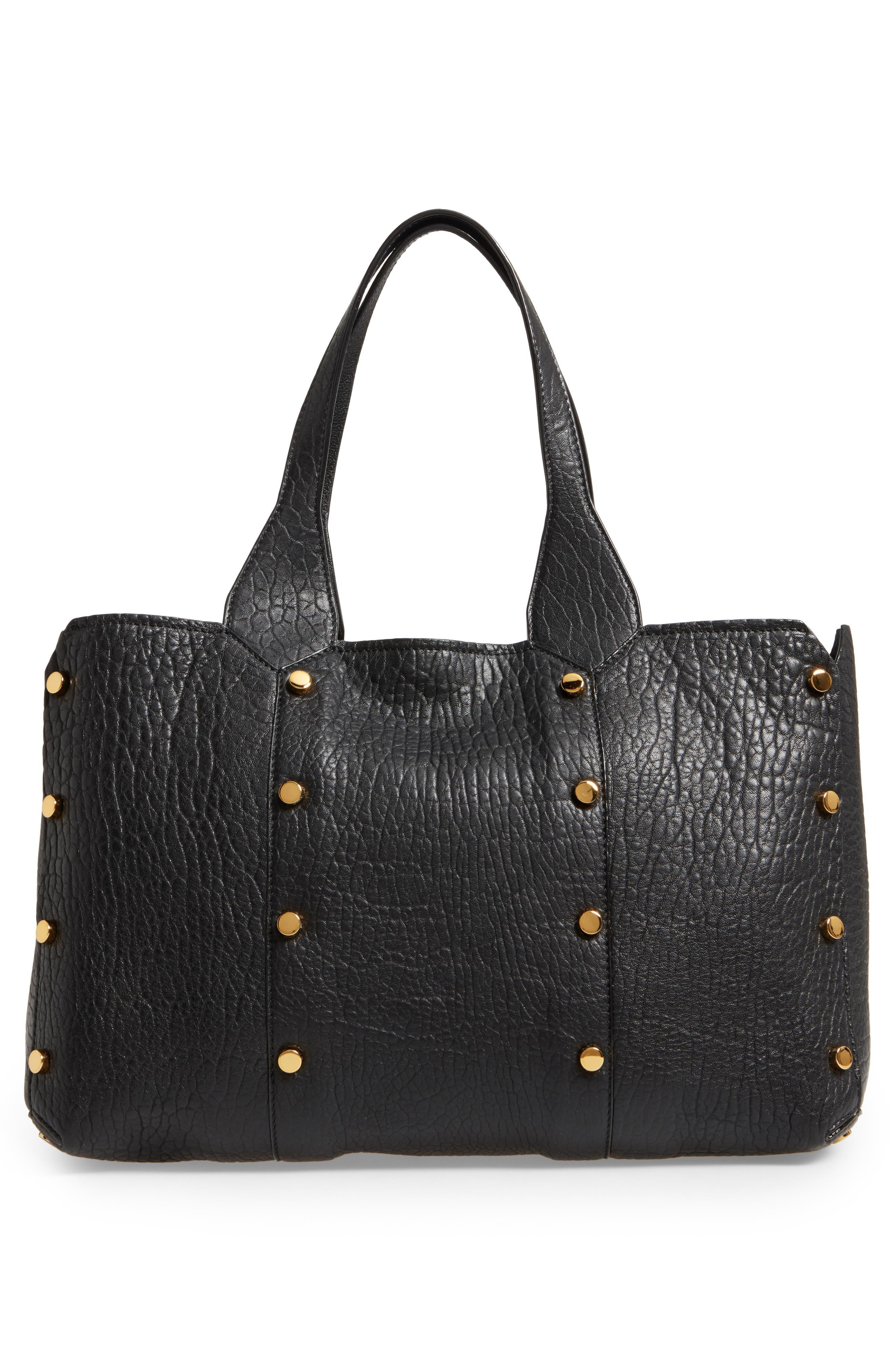 Lockett Leather Shopper,                             Alternate thumbnail 3, color,                             Black