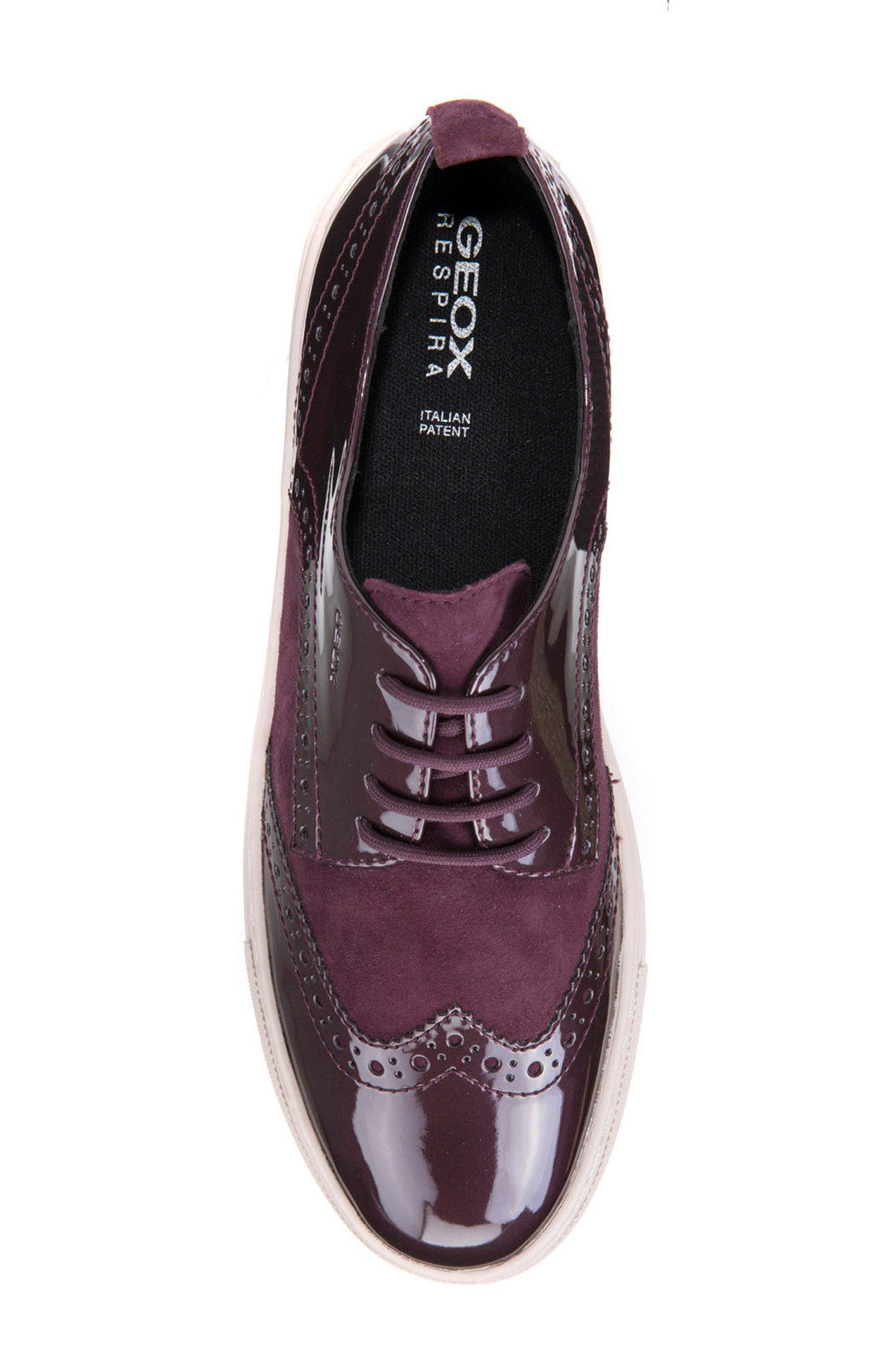Breeda Oxford Sneaker,                             Alternate thumbnail 5, color,                             Prune Leather