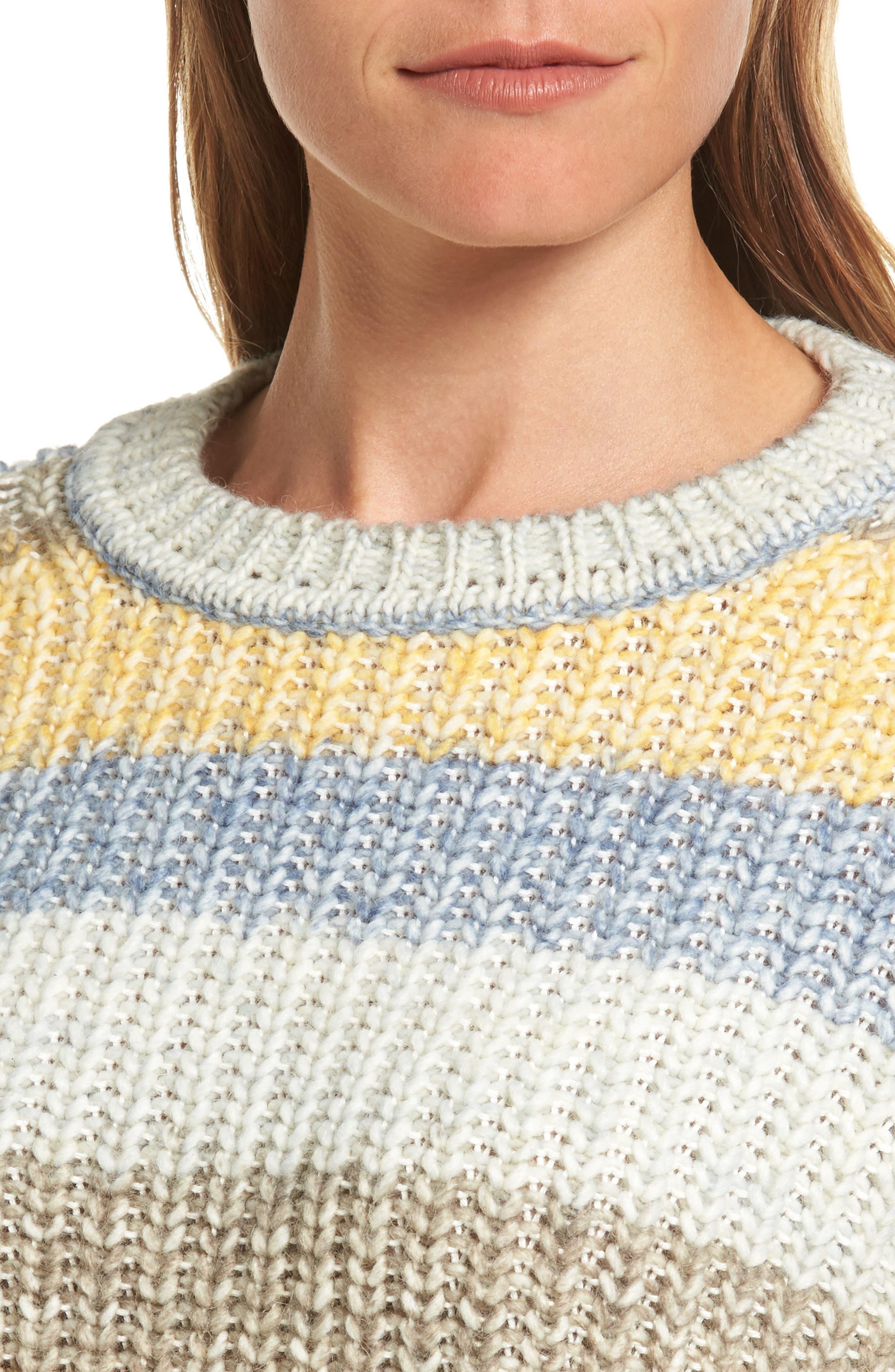 Hive Knit Fisherman Sweater,                             Alternate thumbnail 4, color,                             Sun Gold