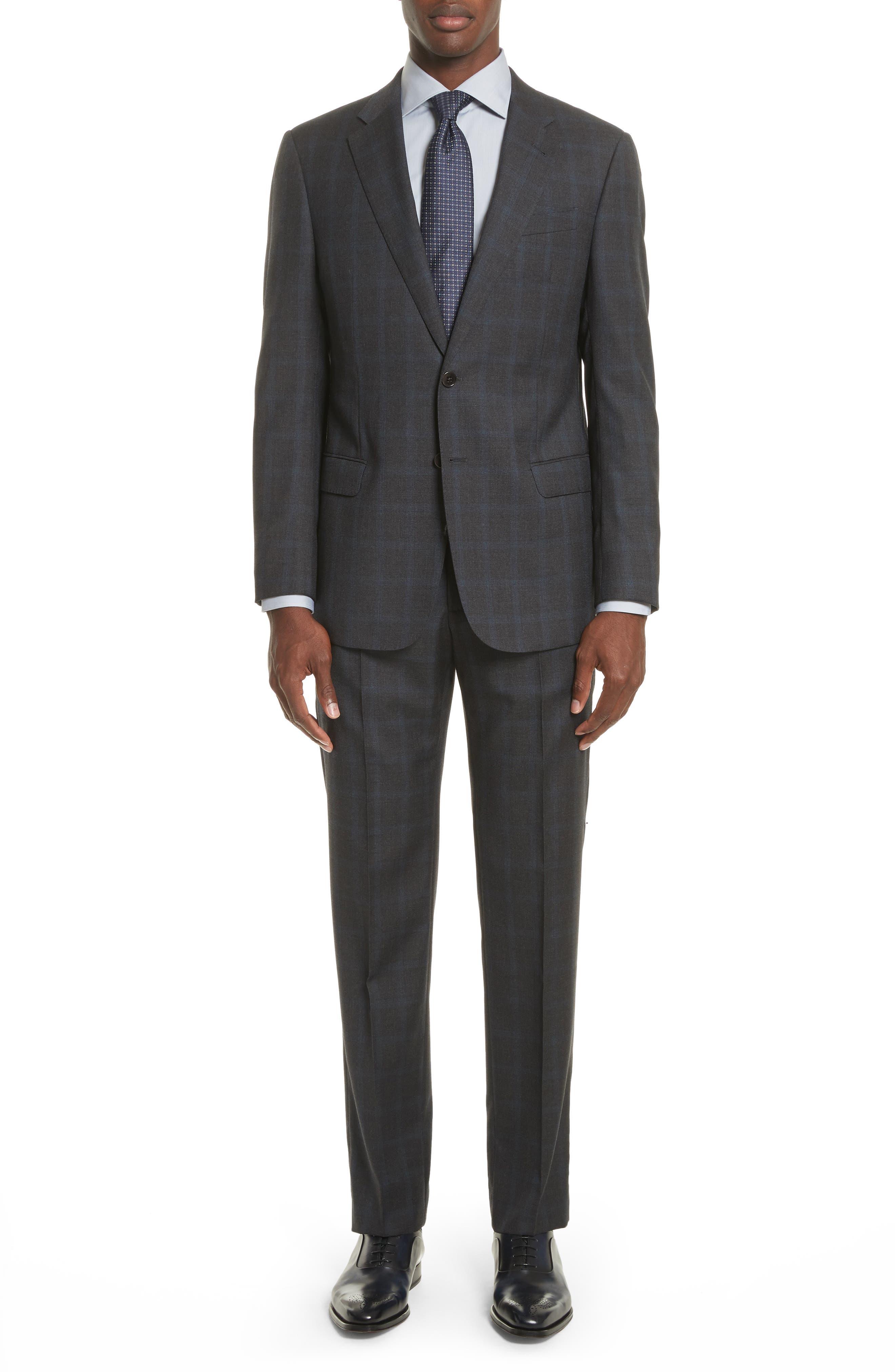 G-Line Trim Fit Plaid Wool Suit,                             Main thumbnail 1, color,                             Black