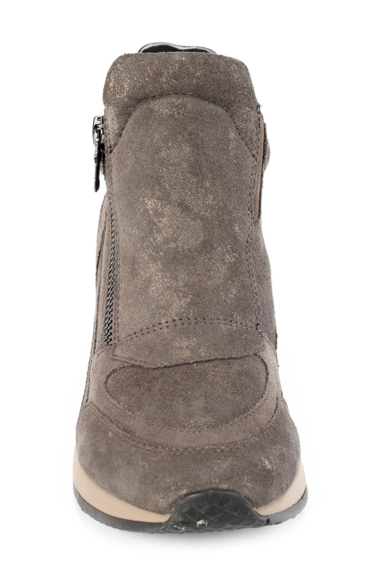 Nydame Wedge Sneaker,                             Alternate thumbnail 4, color,                             Dark Grey Leather