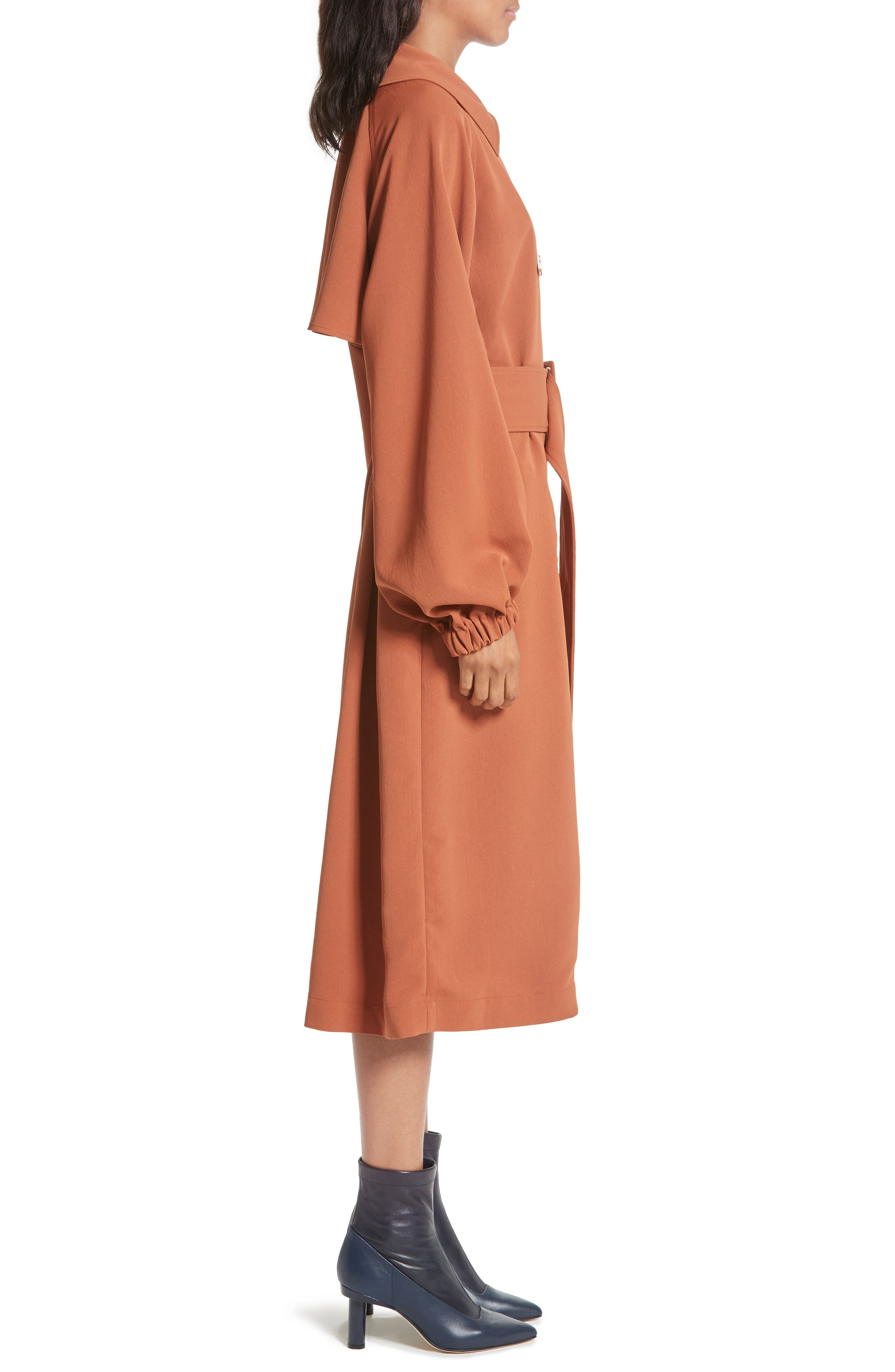 Draped Twill Trench Coat,                             Alternate thumbnail 3, color,                             Rust