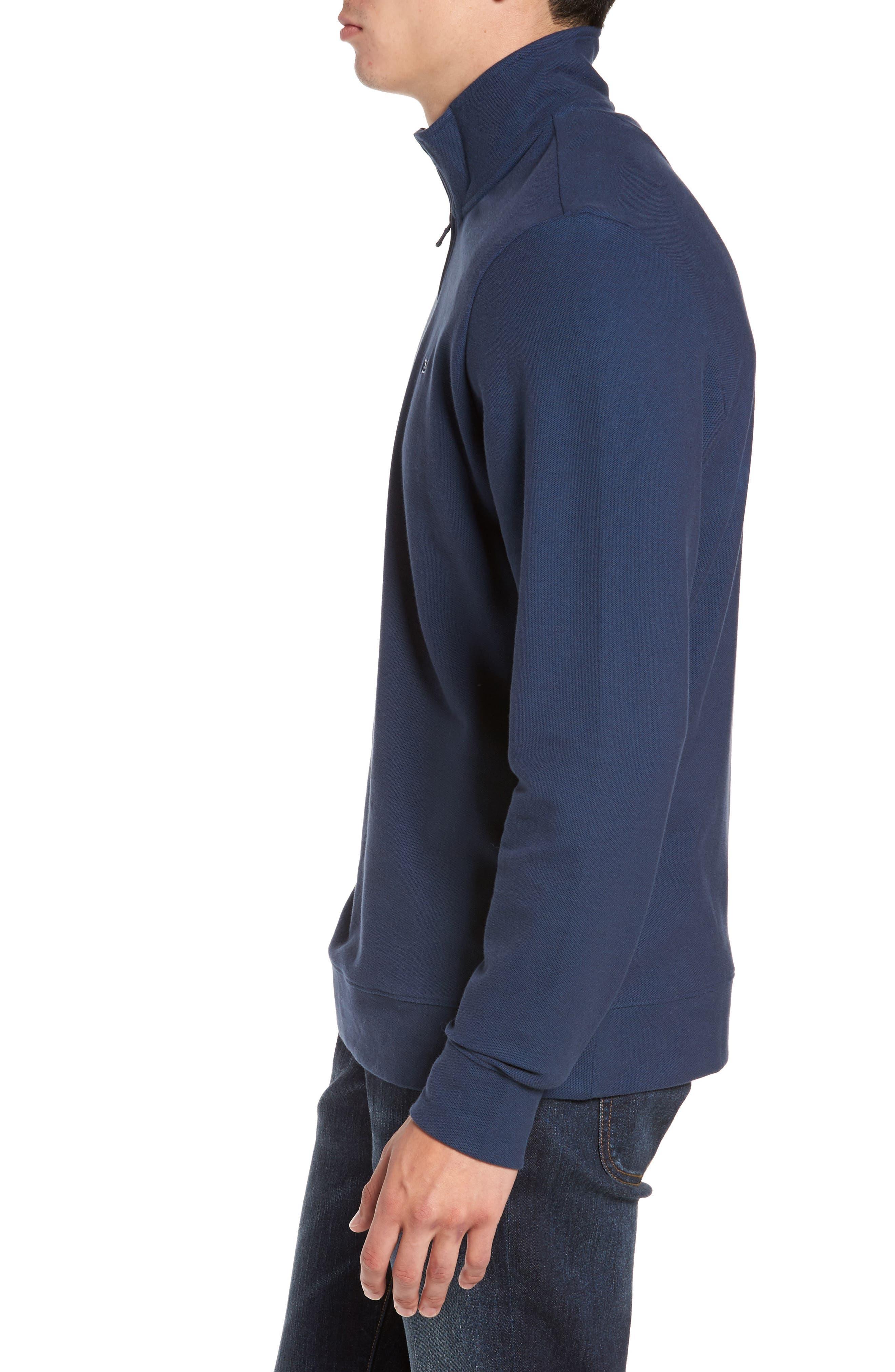 Reverse Oxford Quarter Zip Pullover,                             Alternate thumbnail 3, color,                             Vineyard Navy