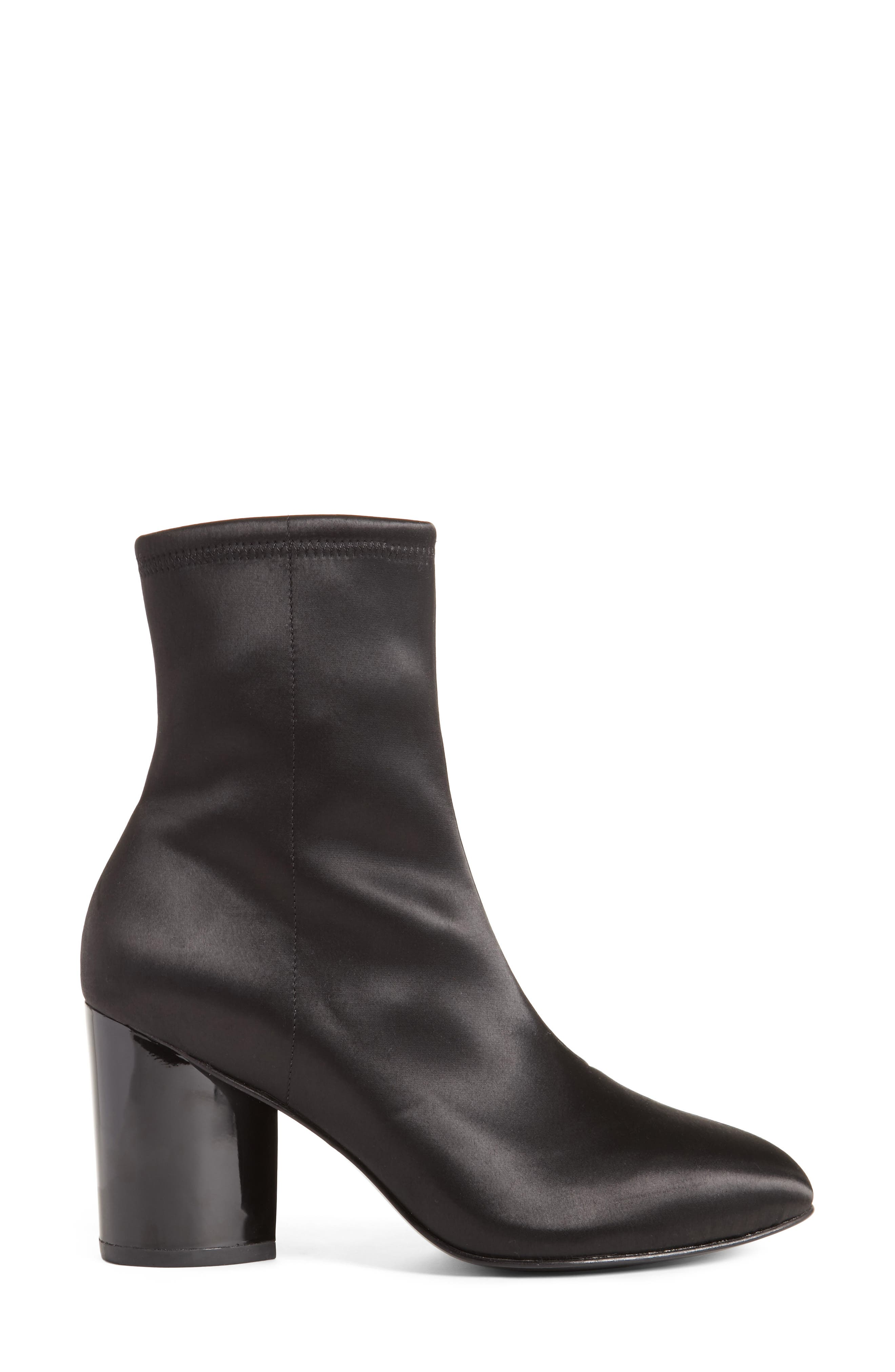 Dylan Stretch Satin Bootie,                             Alternate thumbnail 4, color,                             Black
