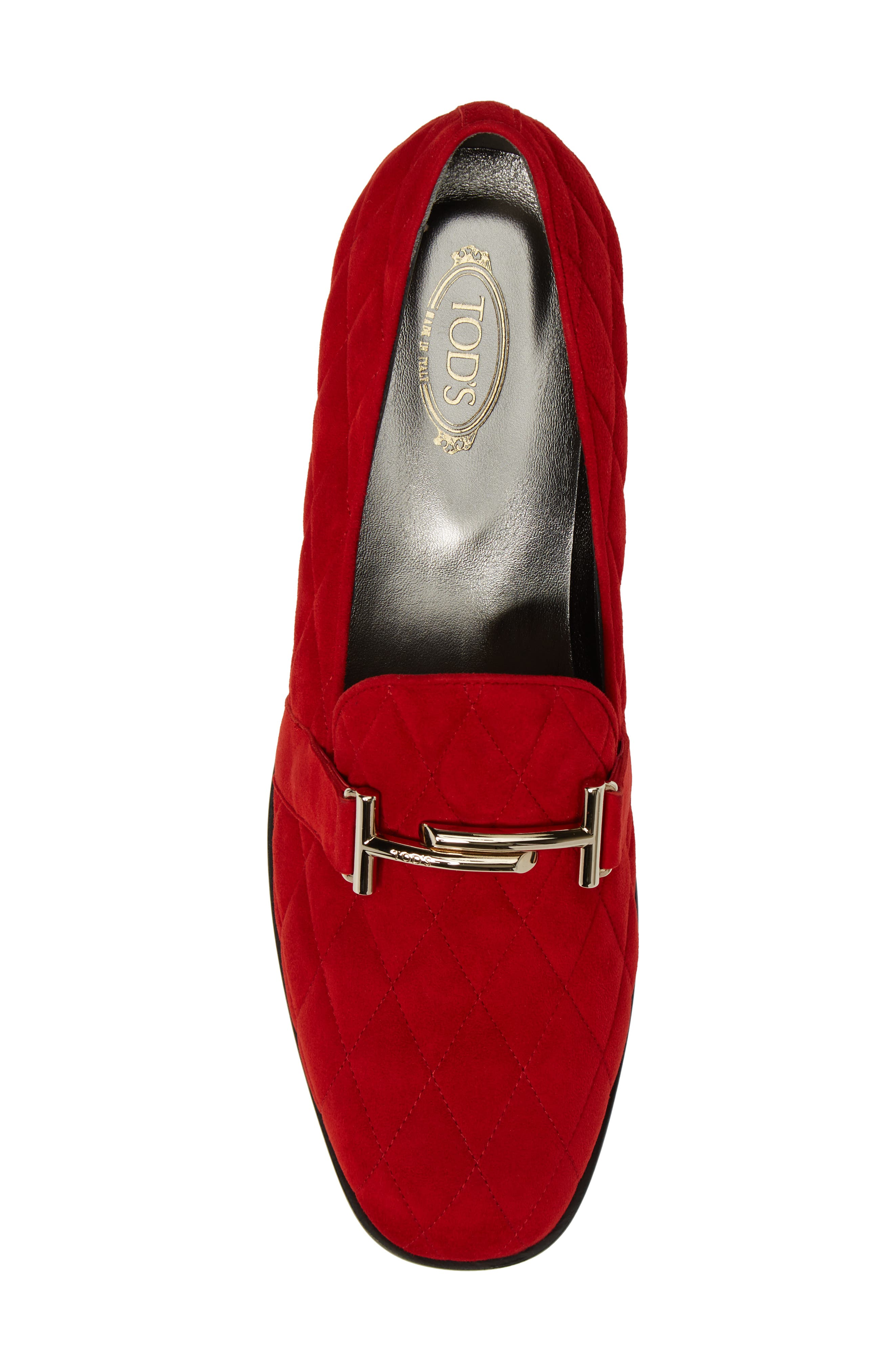 Quilted Double T Loafer,                             Alternate thumbnail 5, color,                             Red