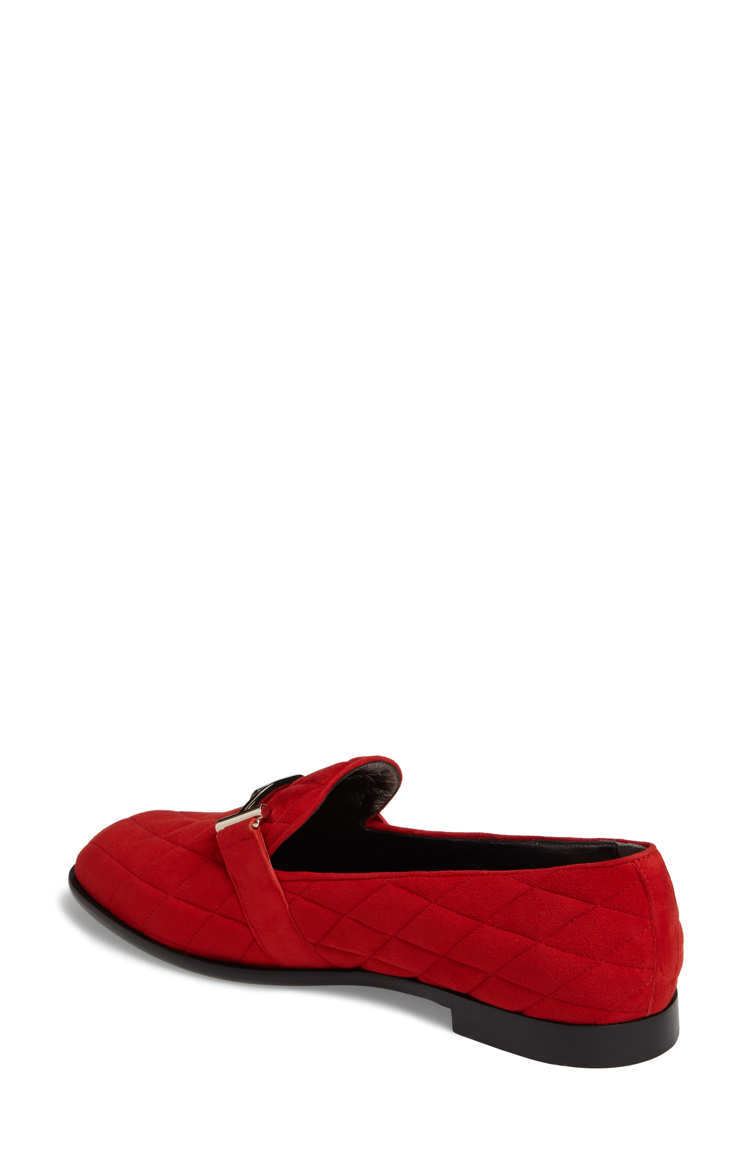 Quilted Double T Loafer,                             Alternate thumbnail 2, color,                             Red