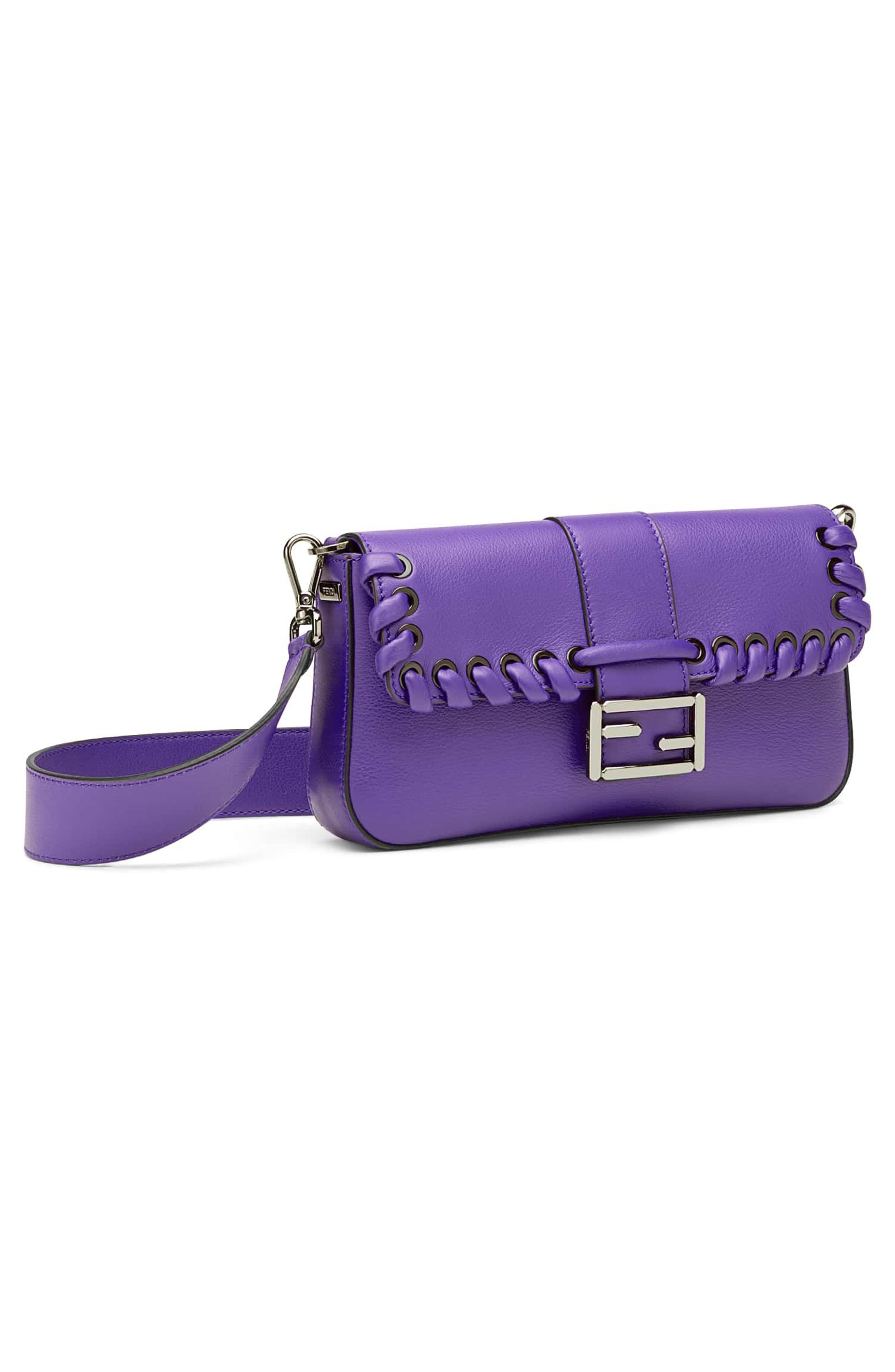 'Dolce' Calfskin Leather Baguette,                             Alternate thumbnail 5, color,                             Purple Rain/ Ruthenium