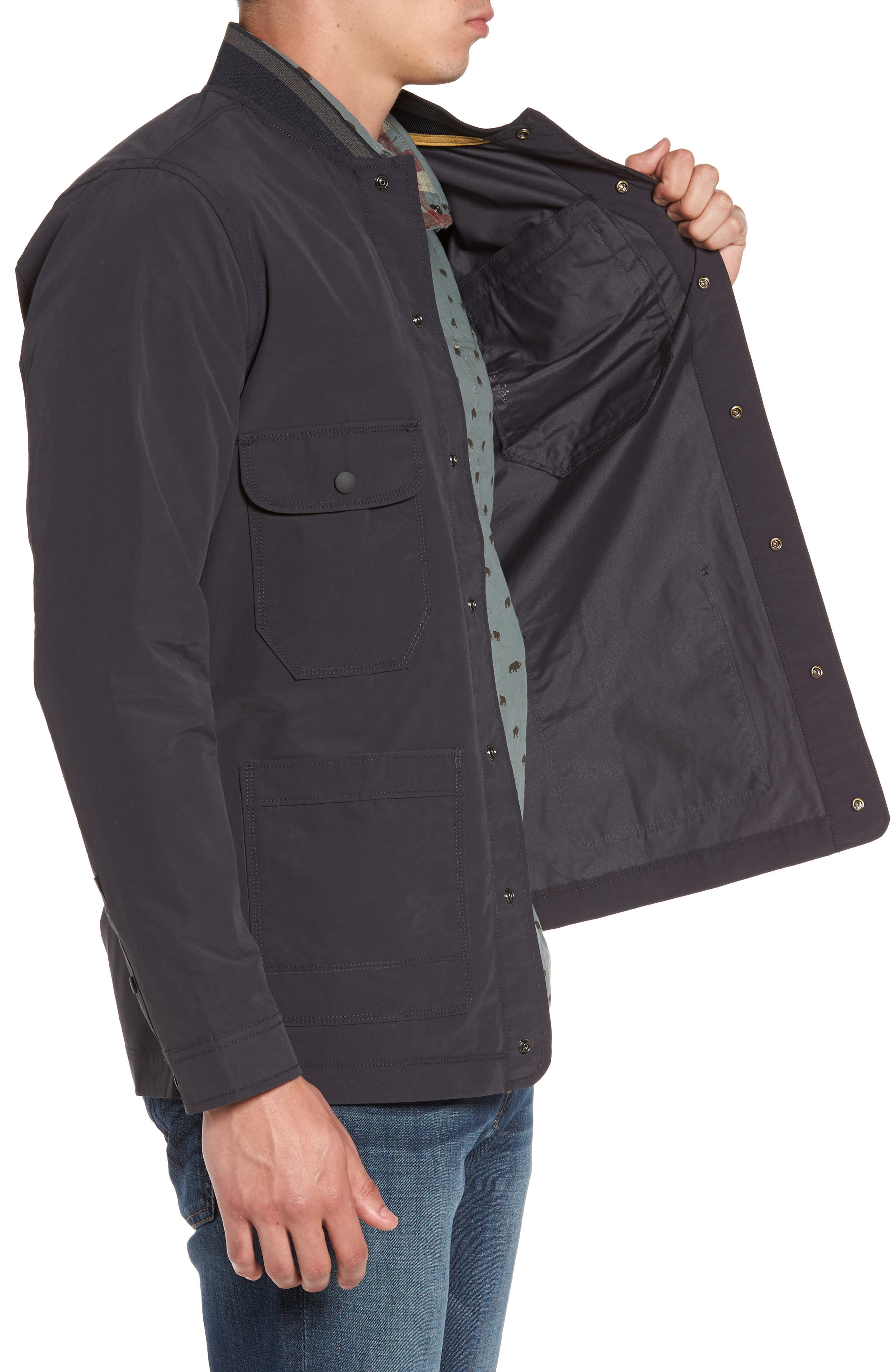 Jarvis Coated Cotton Blend Jacket,                             Alternate thumbnail 4, color,                             Inkwell