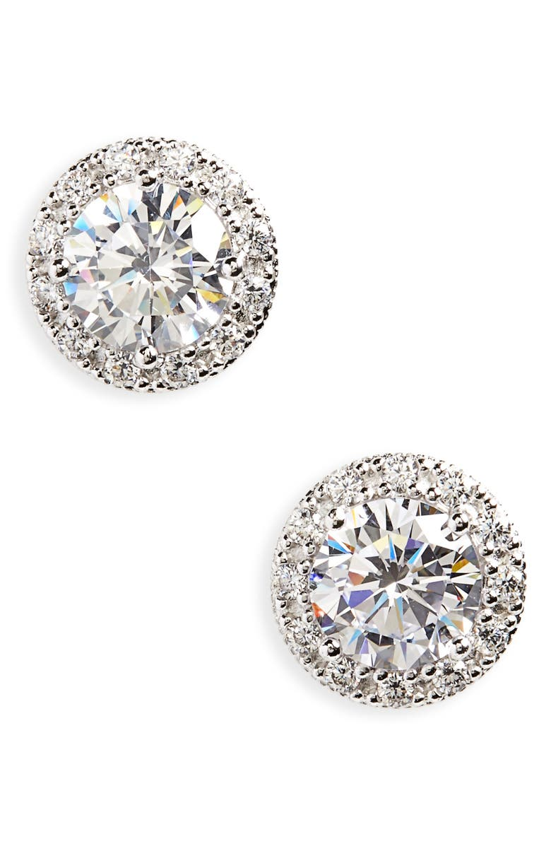 Round 3.48ct tw Cubic Zirconia Stud Earrings