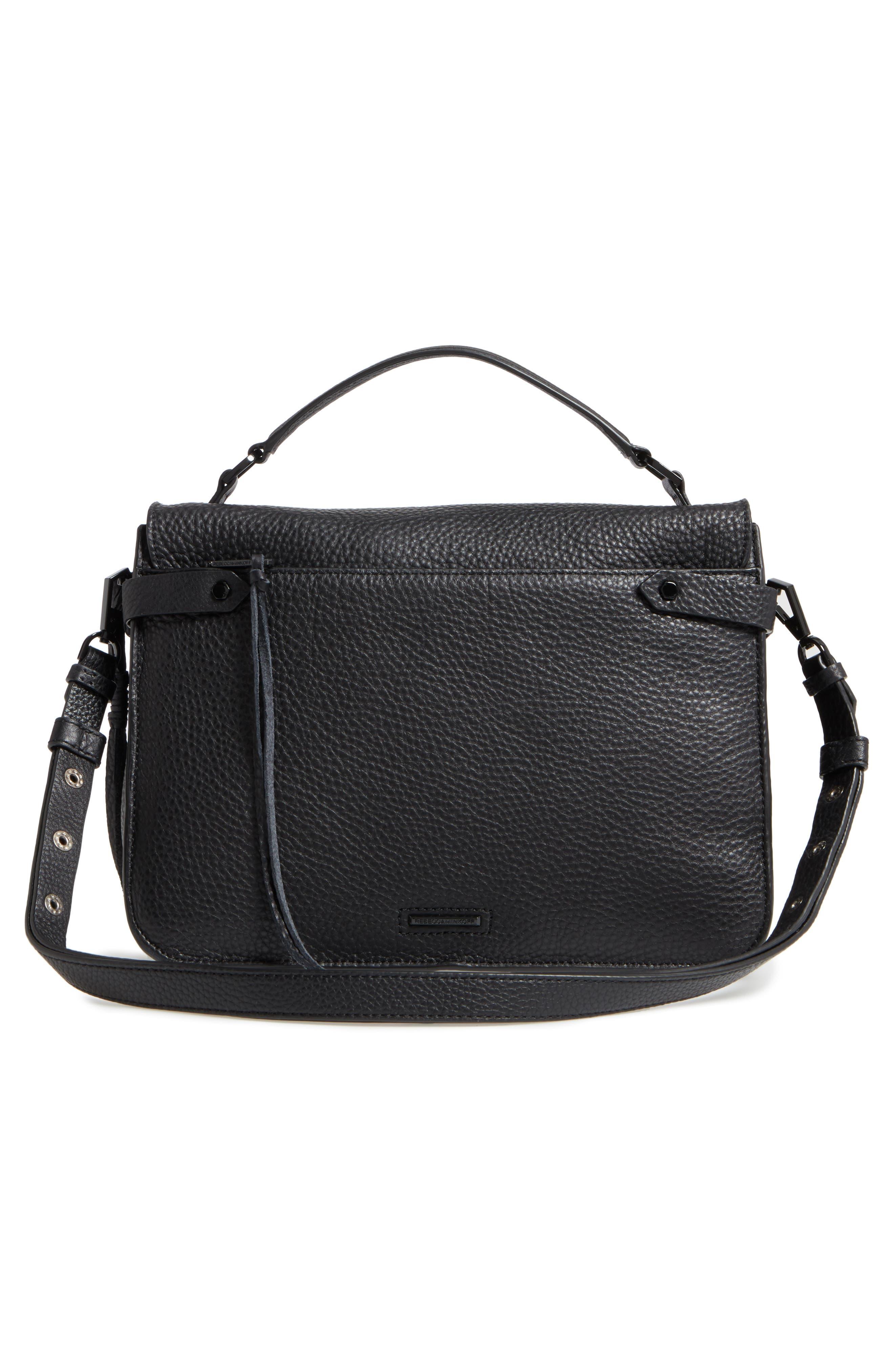 Darren Leather Messenger Bag,                             Alternate thumbnail 3, color,                             Black