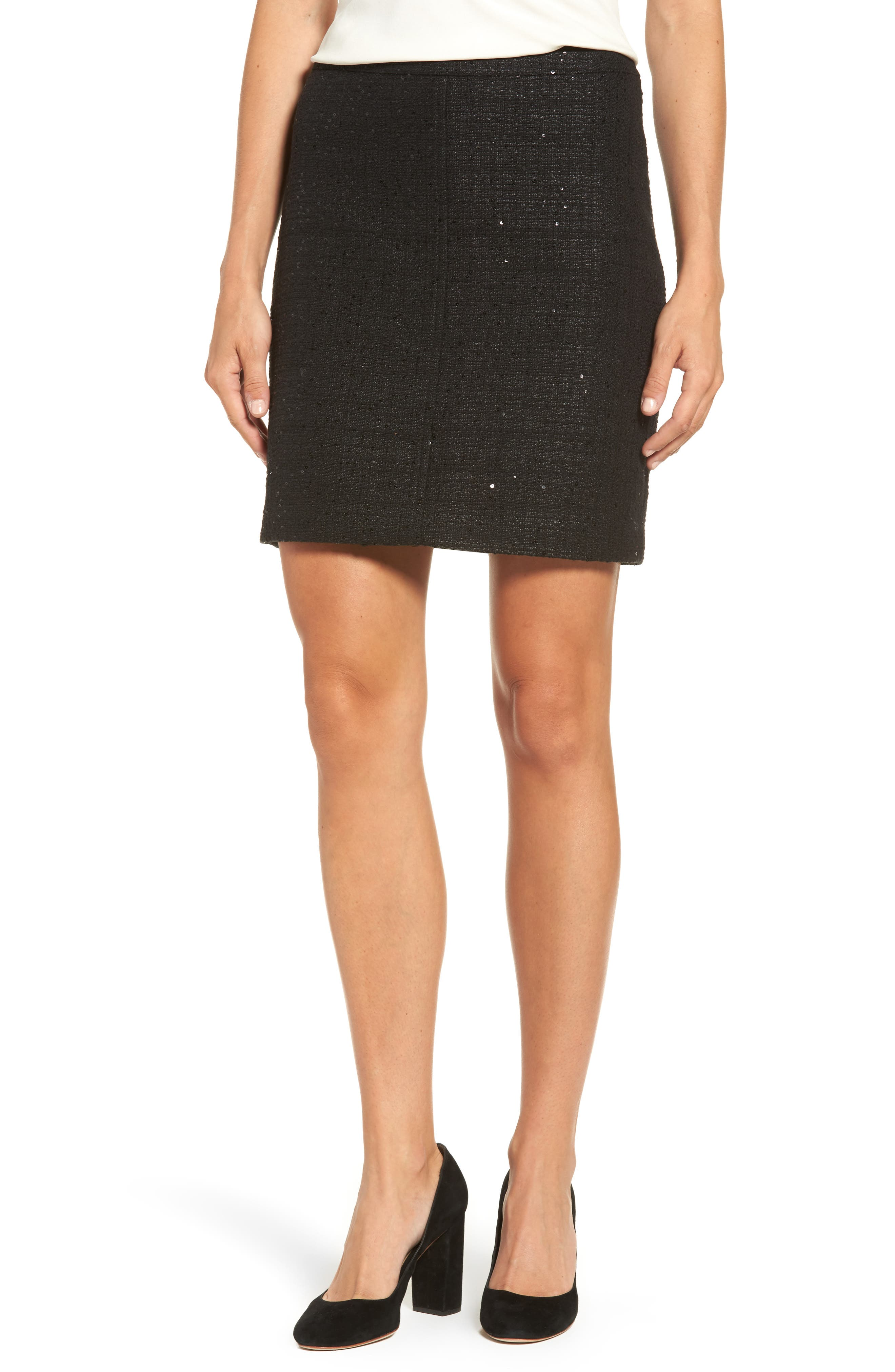 Sequin Tweed Skirt,                             Main thumbnail 1, color,                             Black/ Black