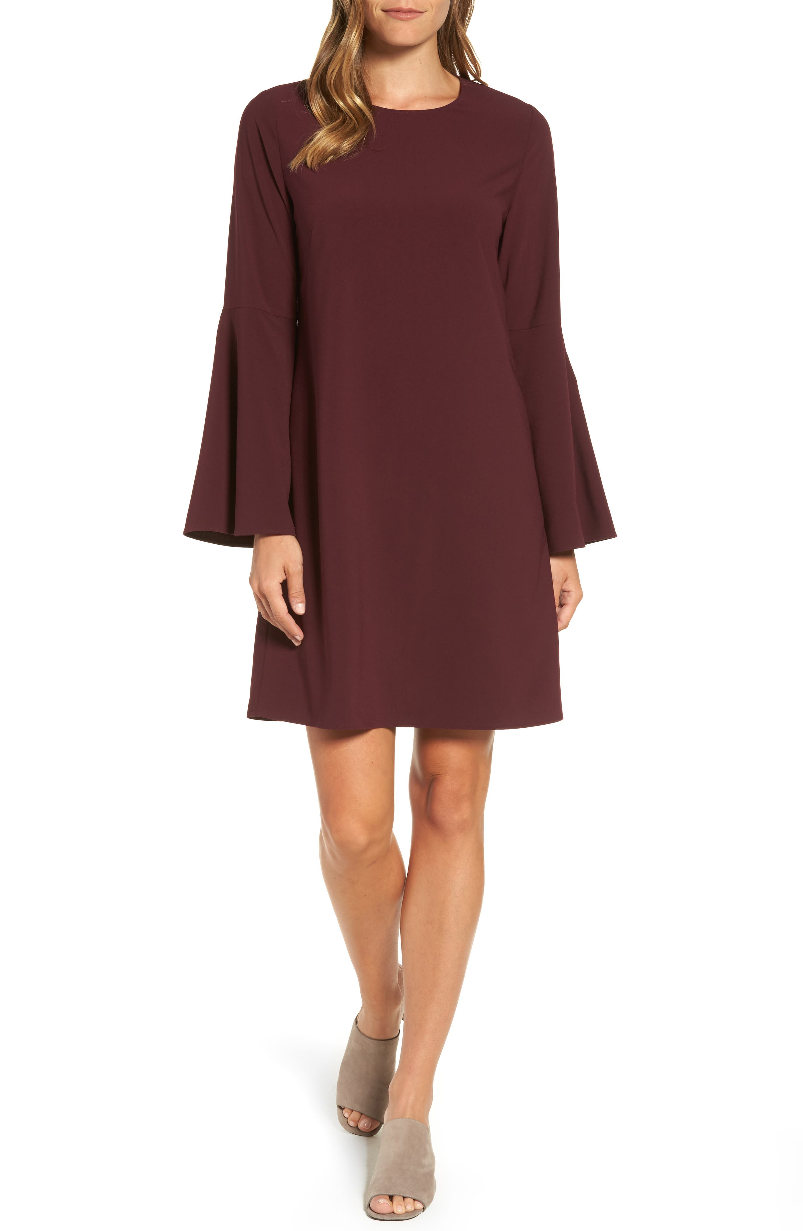 Halogen® Bow Back Flare Sleeve Dress (Regular & Petite)
