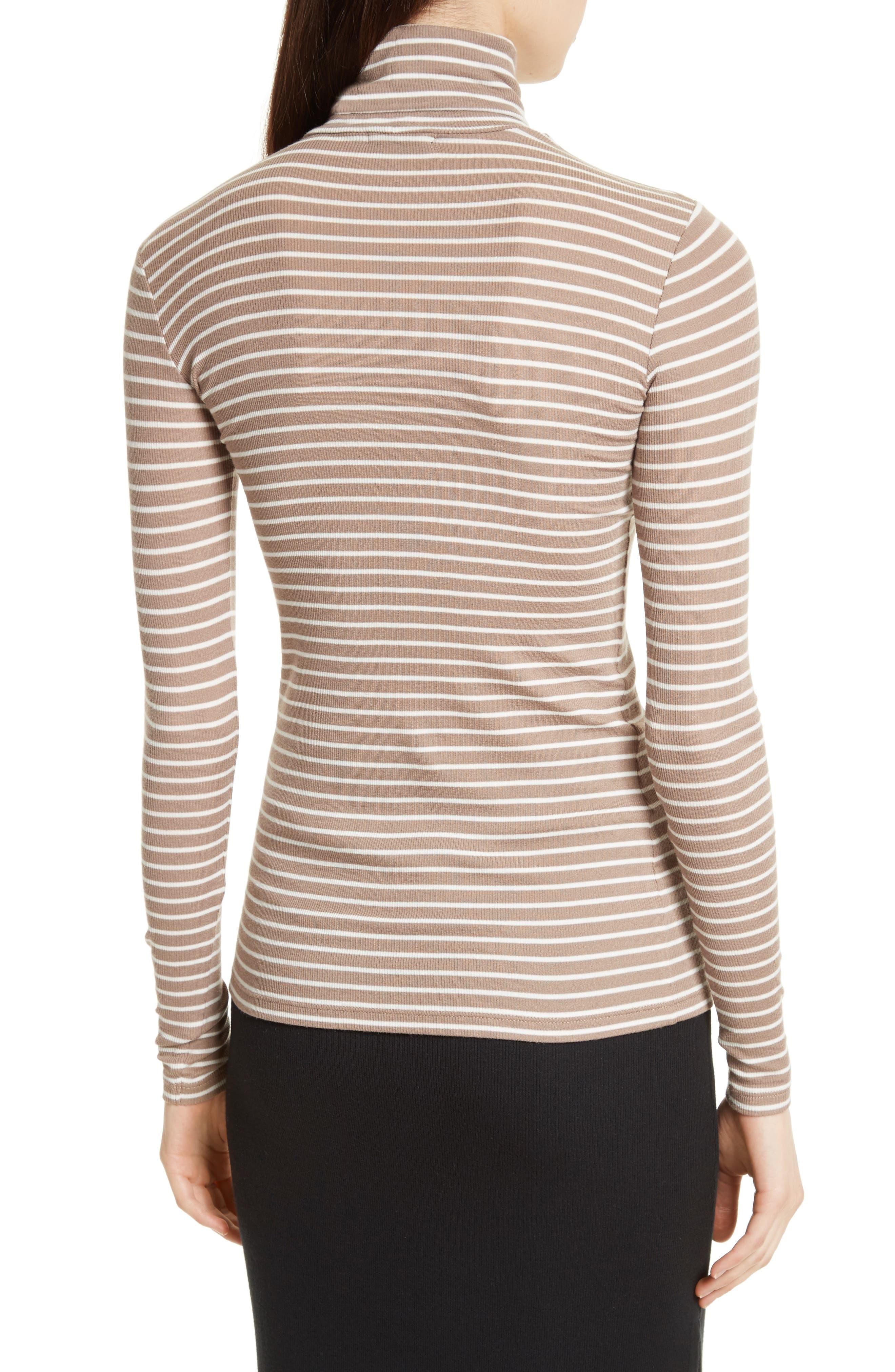 Mock Neck Ribbed Jersey Top,                             Alternate thumbnail 3, color,                             Walnut/ Ivory Stripe
