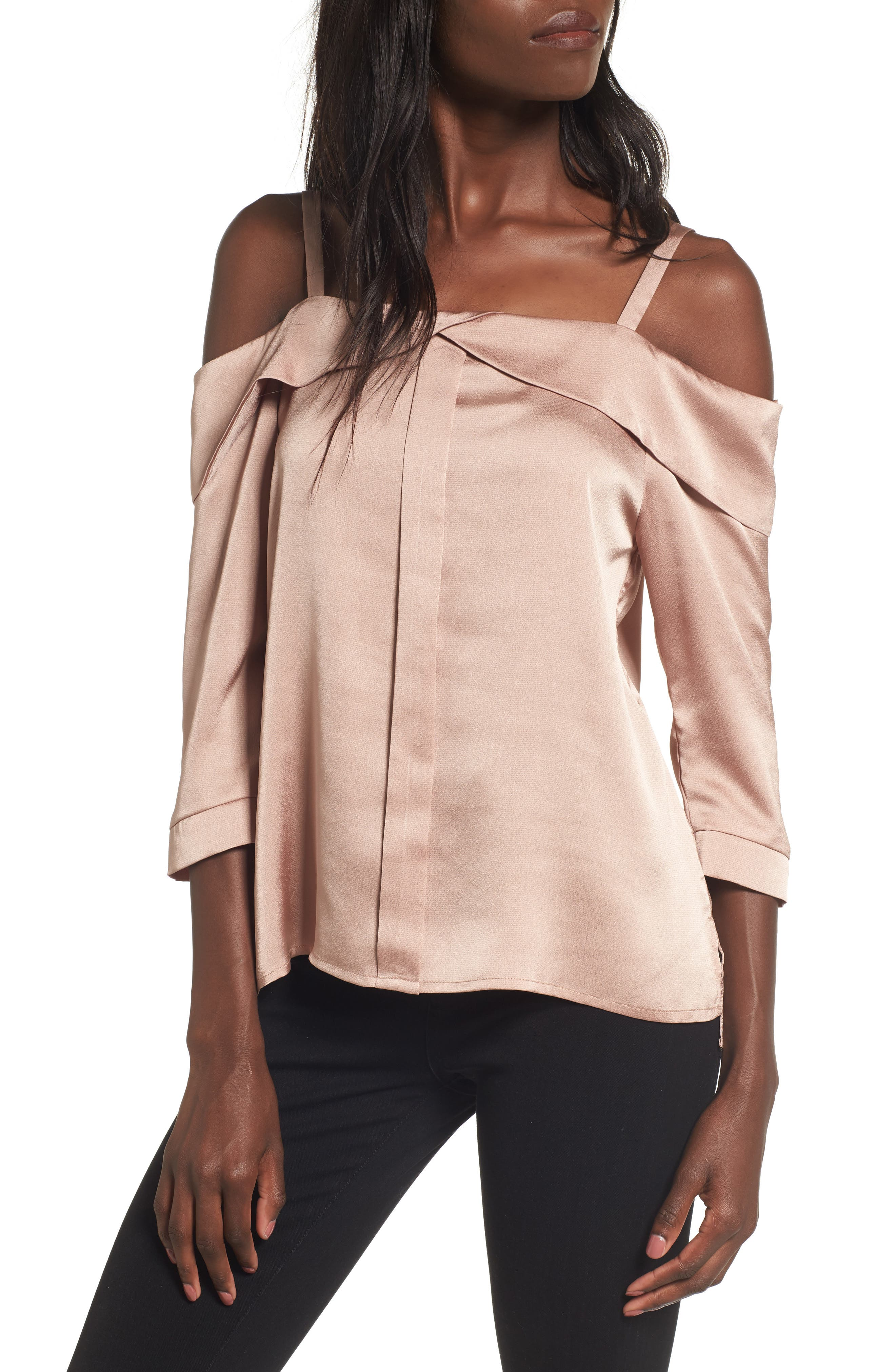 Main Image - Elodie Satin Off the Shoulder Top