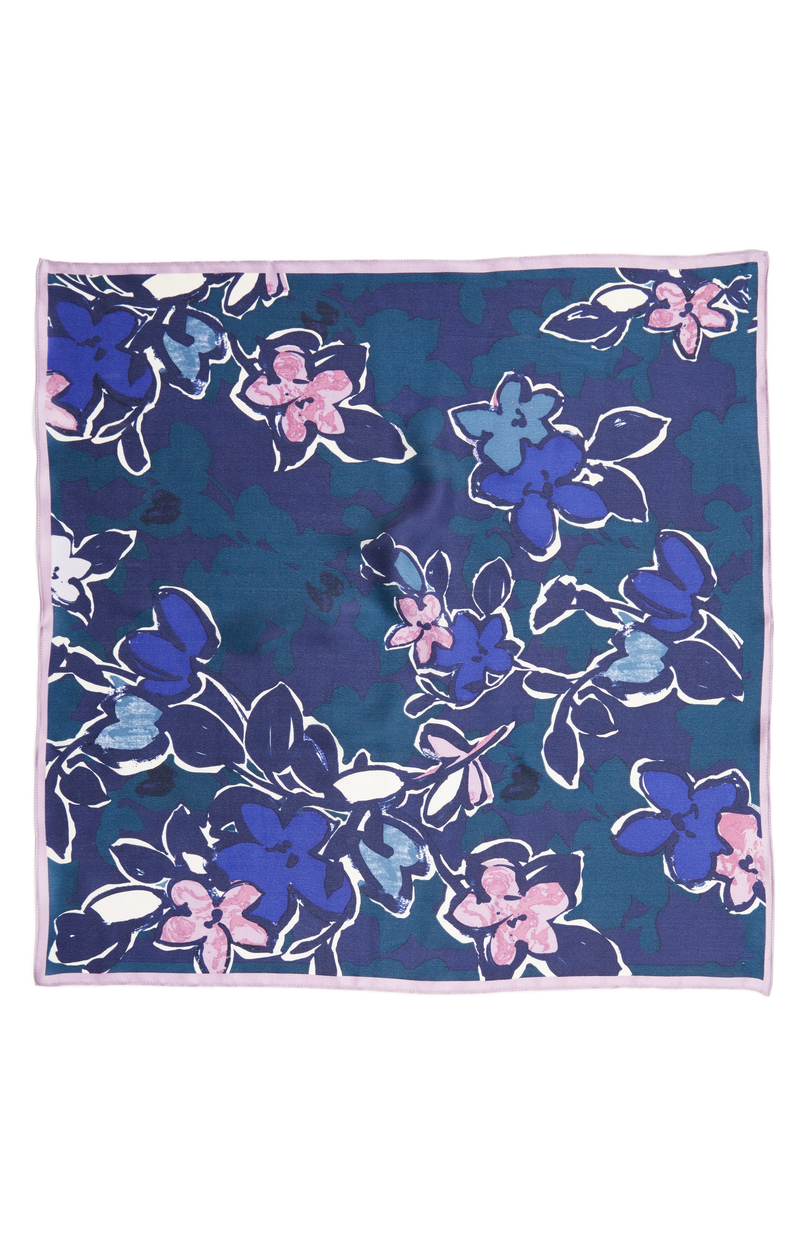 Bloom Floral Silk Square Scarf,                             Alternate thumbnail 2, color,                             Navy Combo