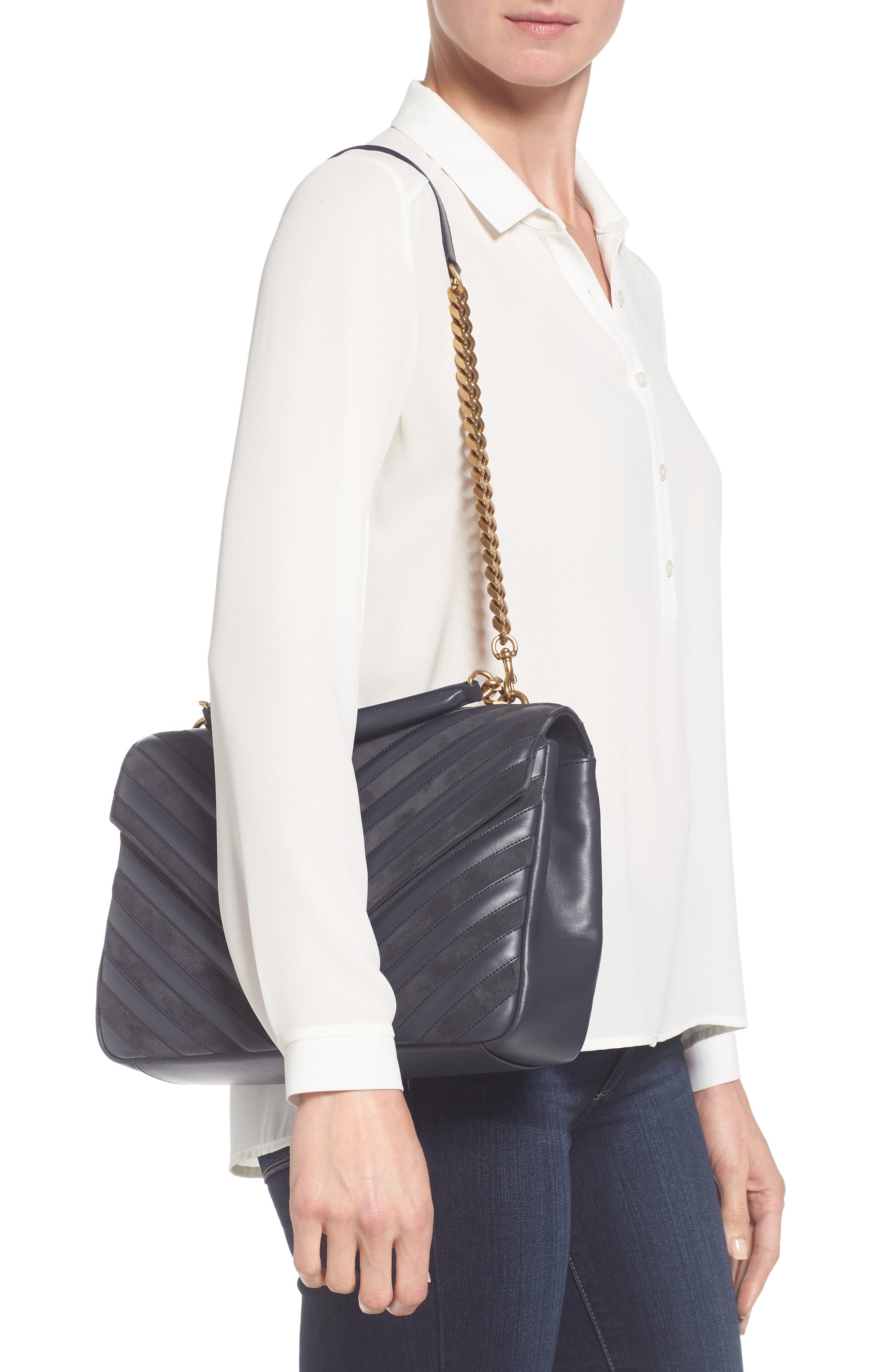 Medium College Patchwork Suede & Leather Shoulder Bag,                             Alternate thumbnail 2, color,                             Graphite