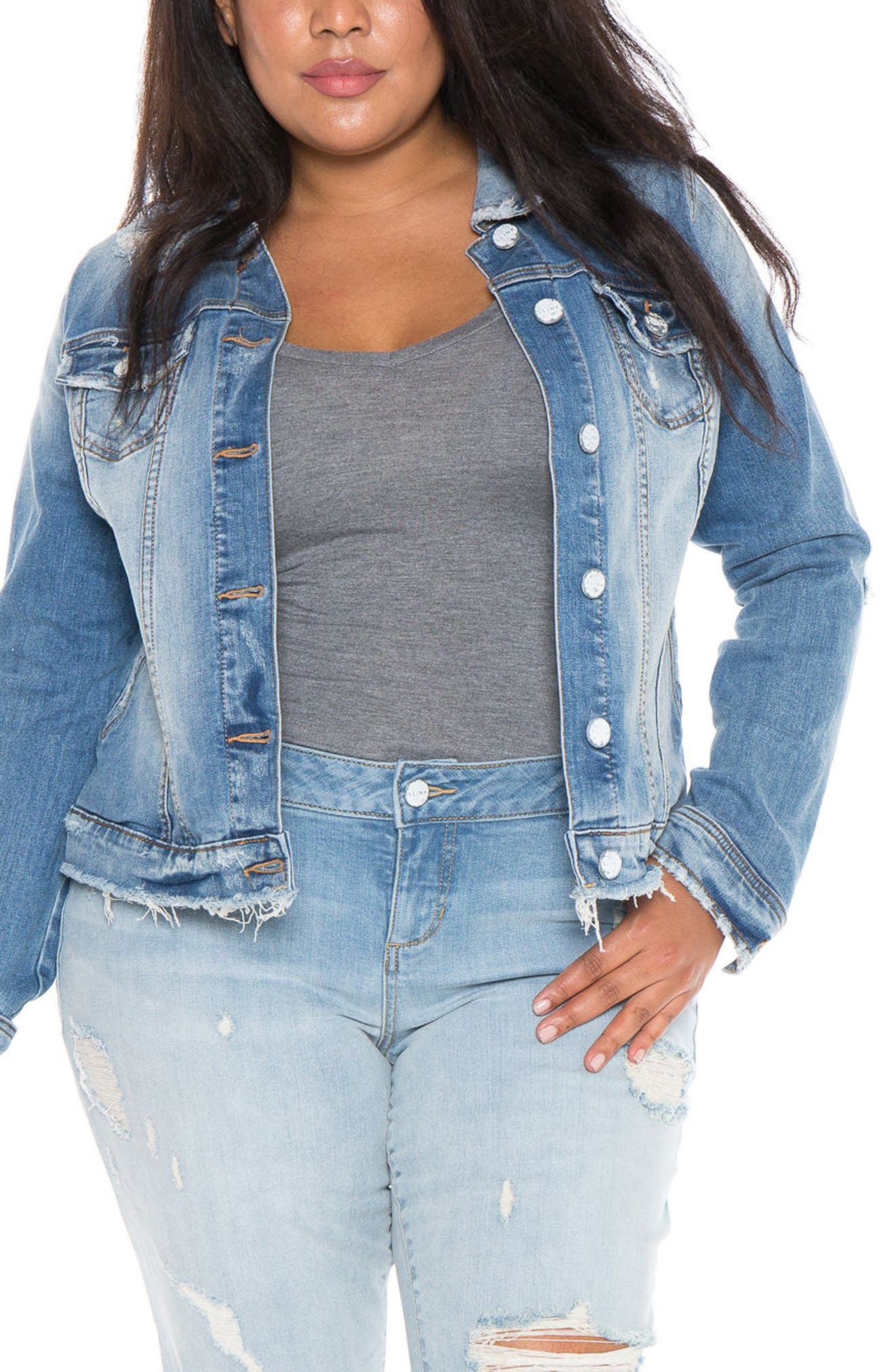 Main Image - SLINK Jeans Denim Jacket (Plus Size)