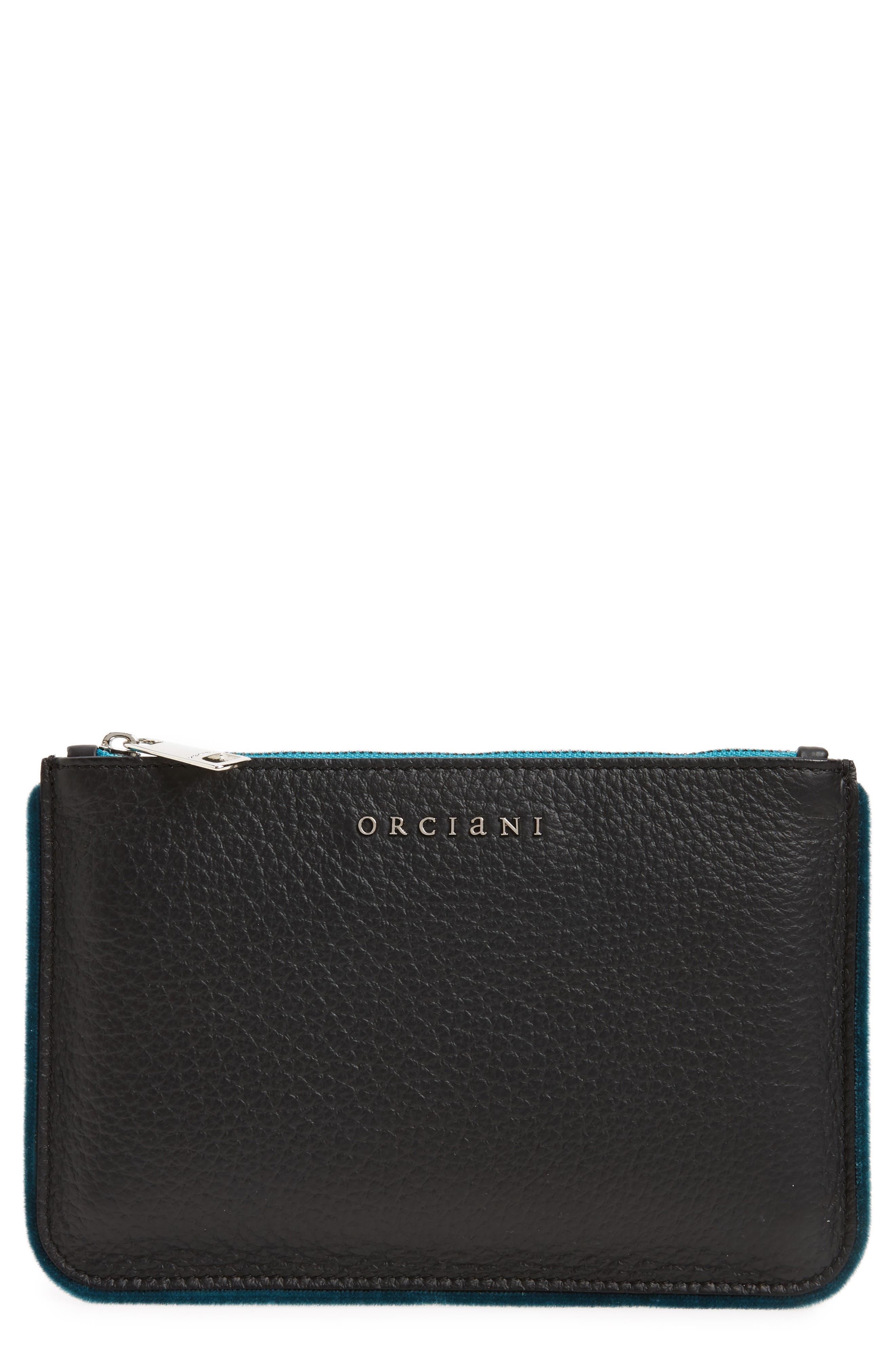 Main Image - Orciani Large Soft Line Velvet Trim Calfskin Leather Pouch