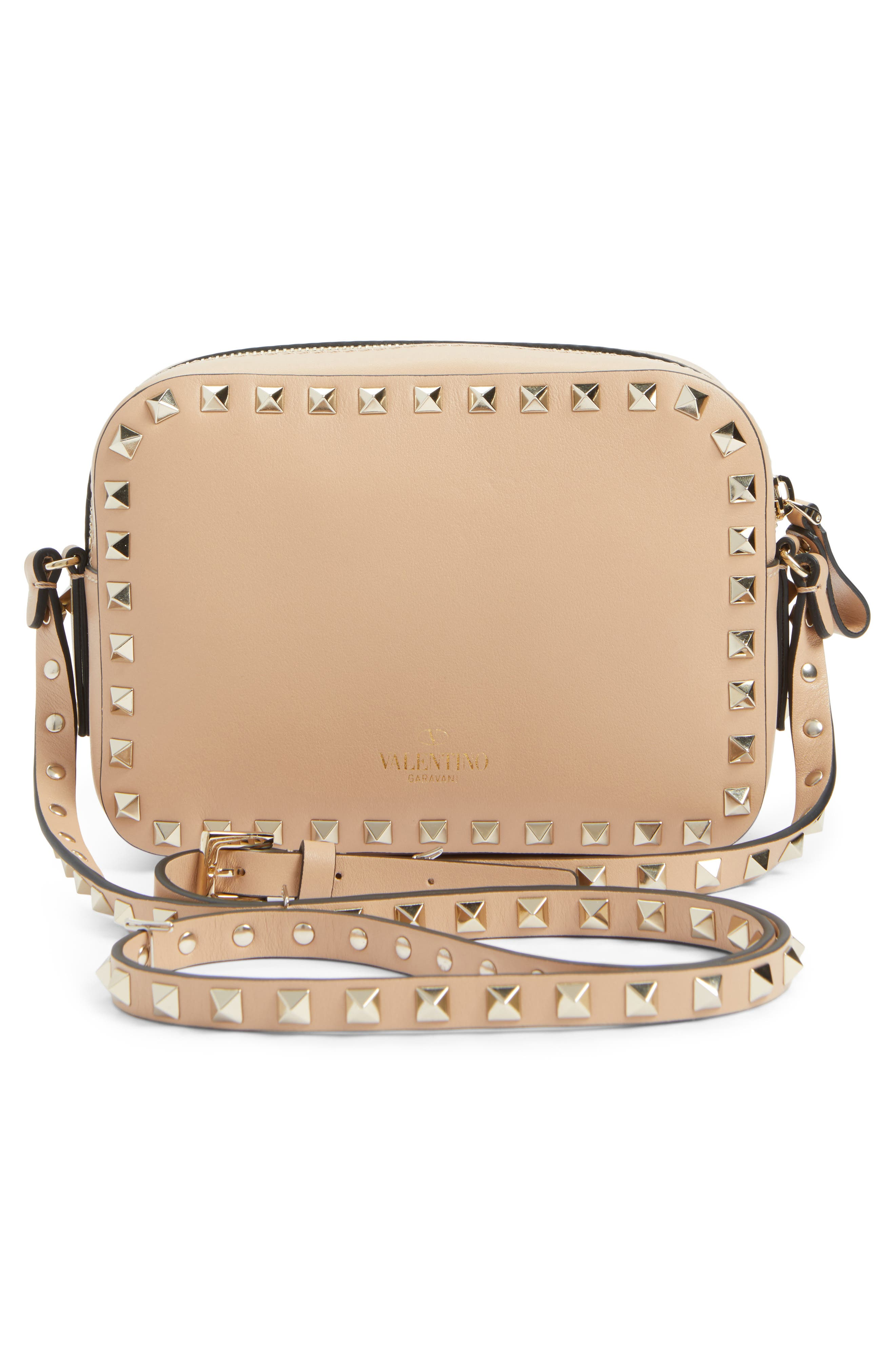 Rockstud Beaded Butterfly Leather Camera Crossbody Bag,                             Alternate thumbnail 2, color,                             Camel Rose