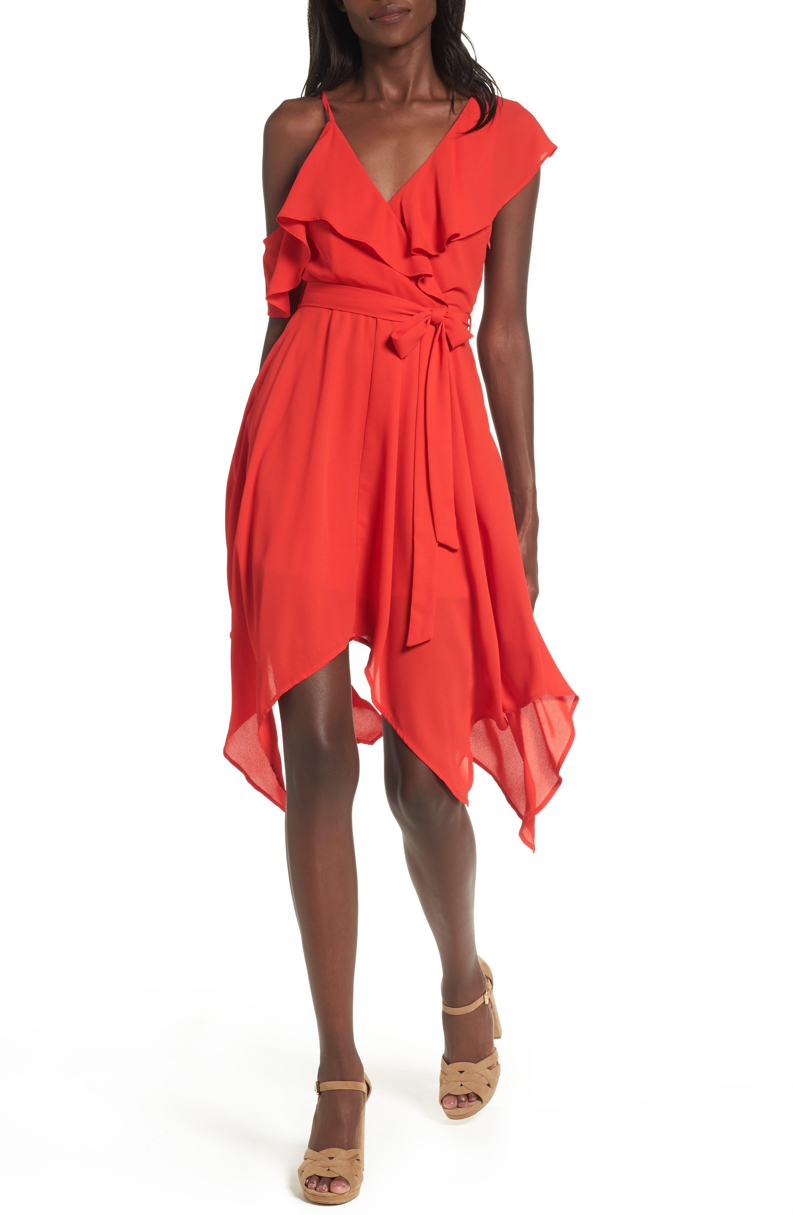 Asymmetrical Ruffle Dress,                         Main,                         color, Red